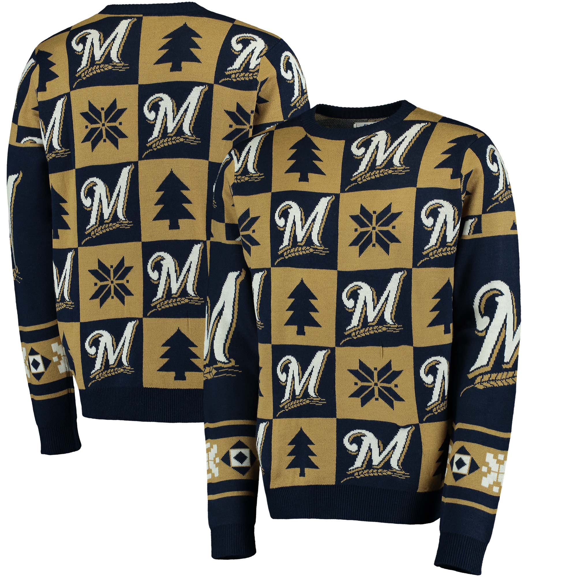 Milwaukee Brewers Patches Ugly Pullover Sweater - Navy