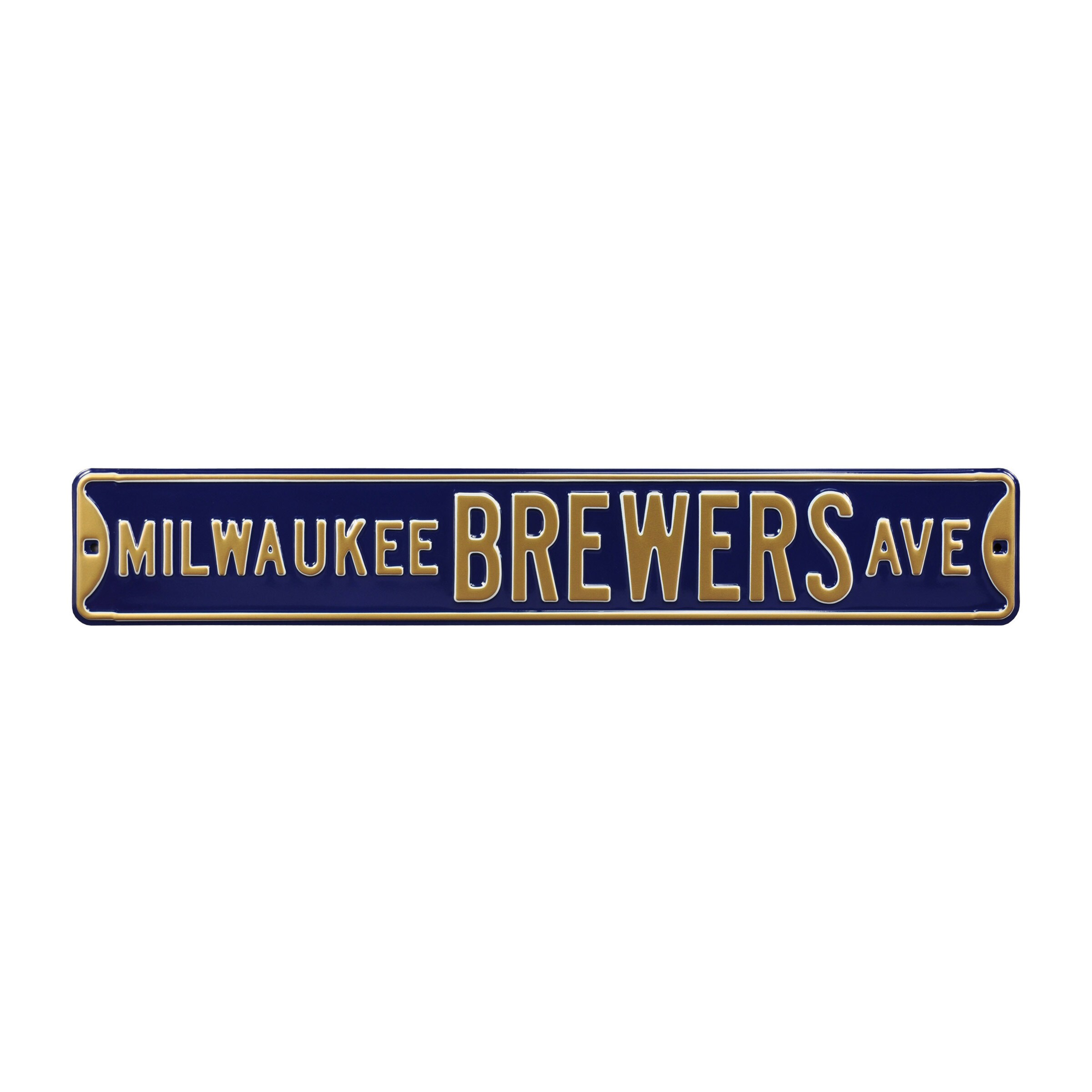 """Milwaukee Brewers 6"""" x 36"""" Steel Ave Sign Wall Art - Navy"""