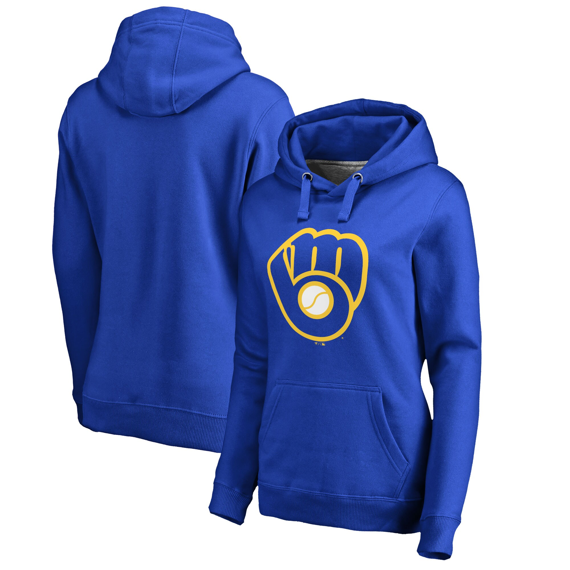 Milwaukee Brewers Women's Plus Sizes Primary Team Logo Pullover Hoodie - Royal