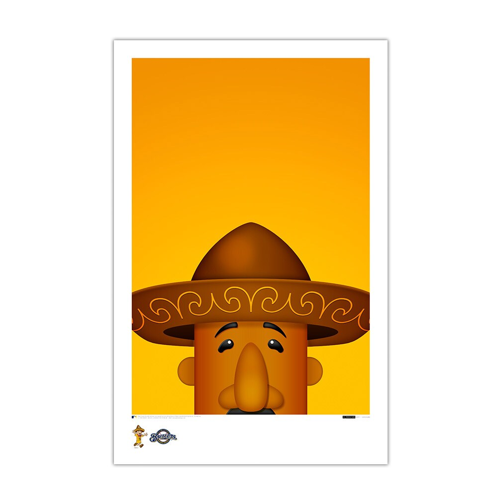 "Milwaukee Brewers Racing Sausage Chorizo 11"" x 17"" Minimalist Mascot Art Poster"