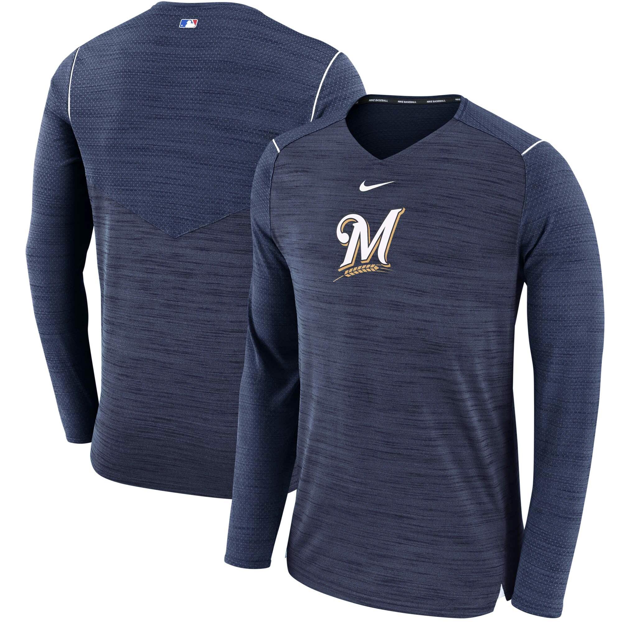 Milwaukee Brewers Nike AC Breathe Long Sleeve Performance T-Shirt - Navy