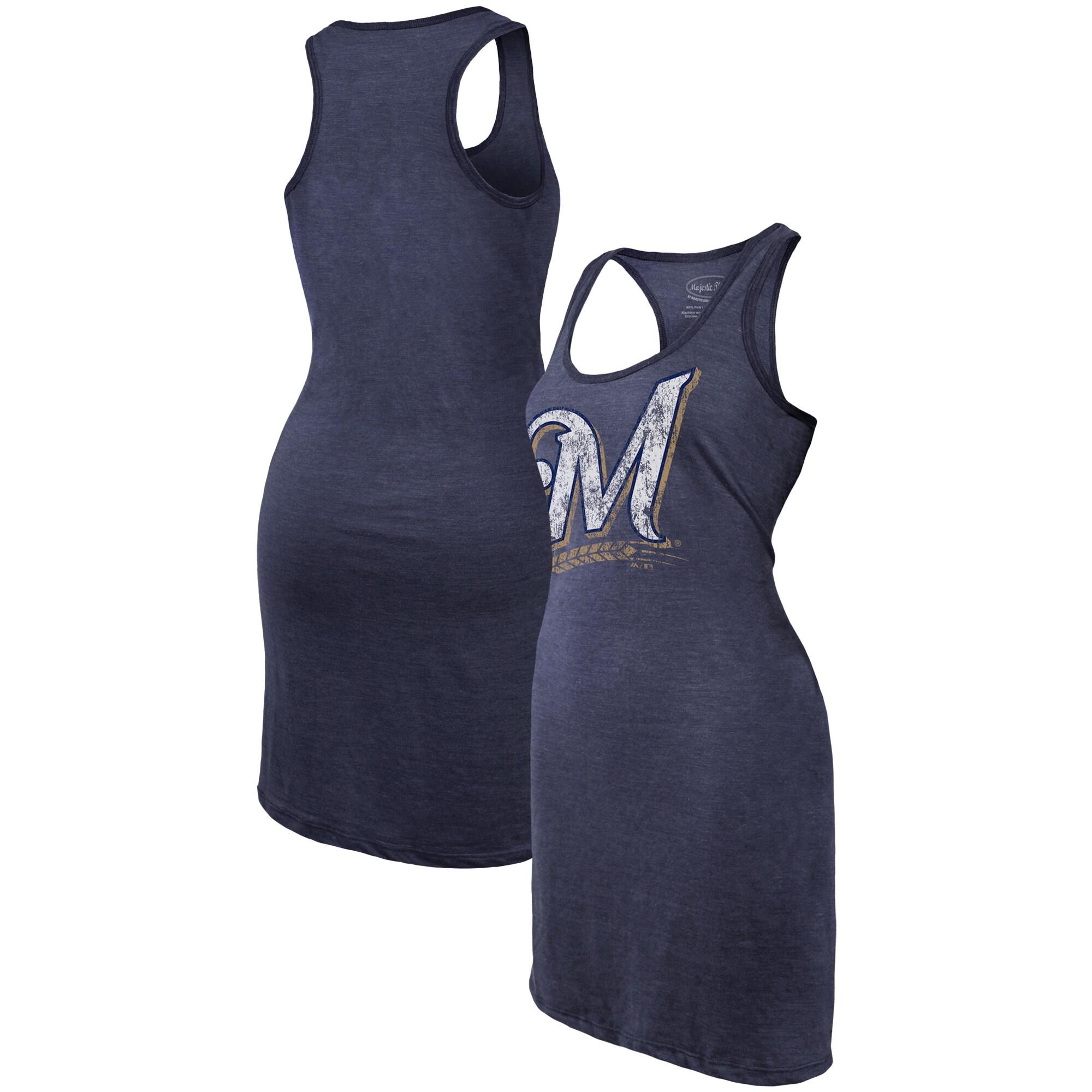 Milwaukee Brewers Majestic Threads Women's Tri-Blend Racerback Sleeveless Dress - Navy