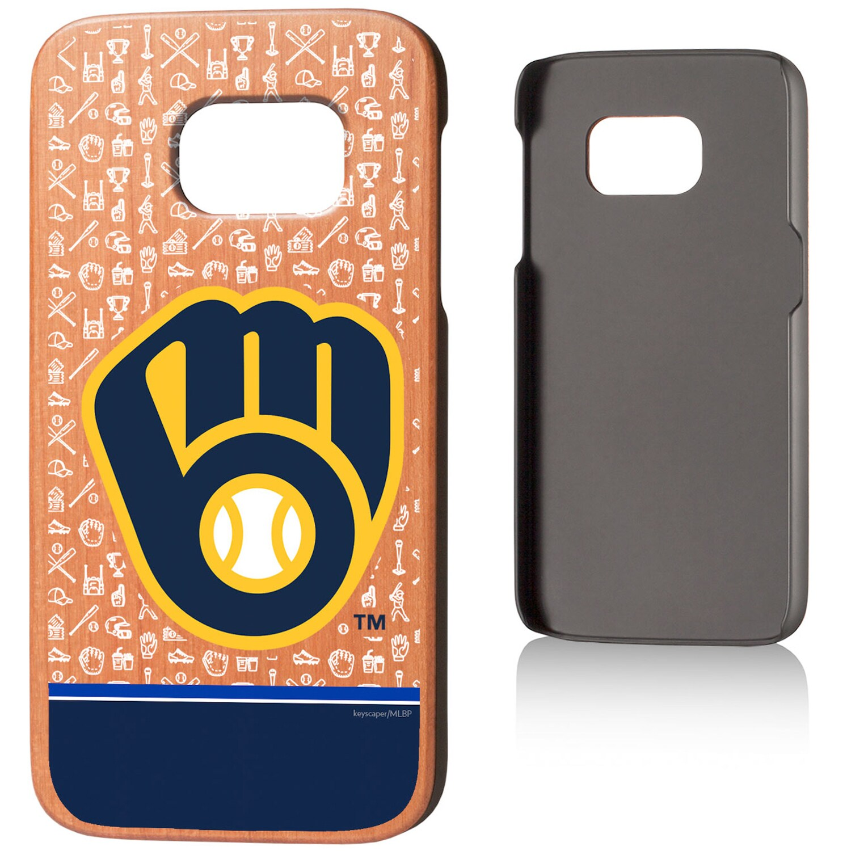 Milwaukee Brewers Galaxy S7 Stripe Logo Cherry Wood Case
