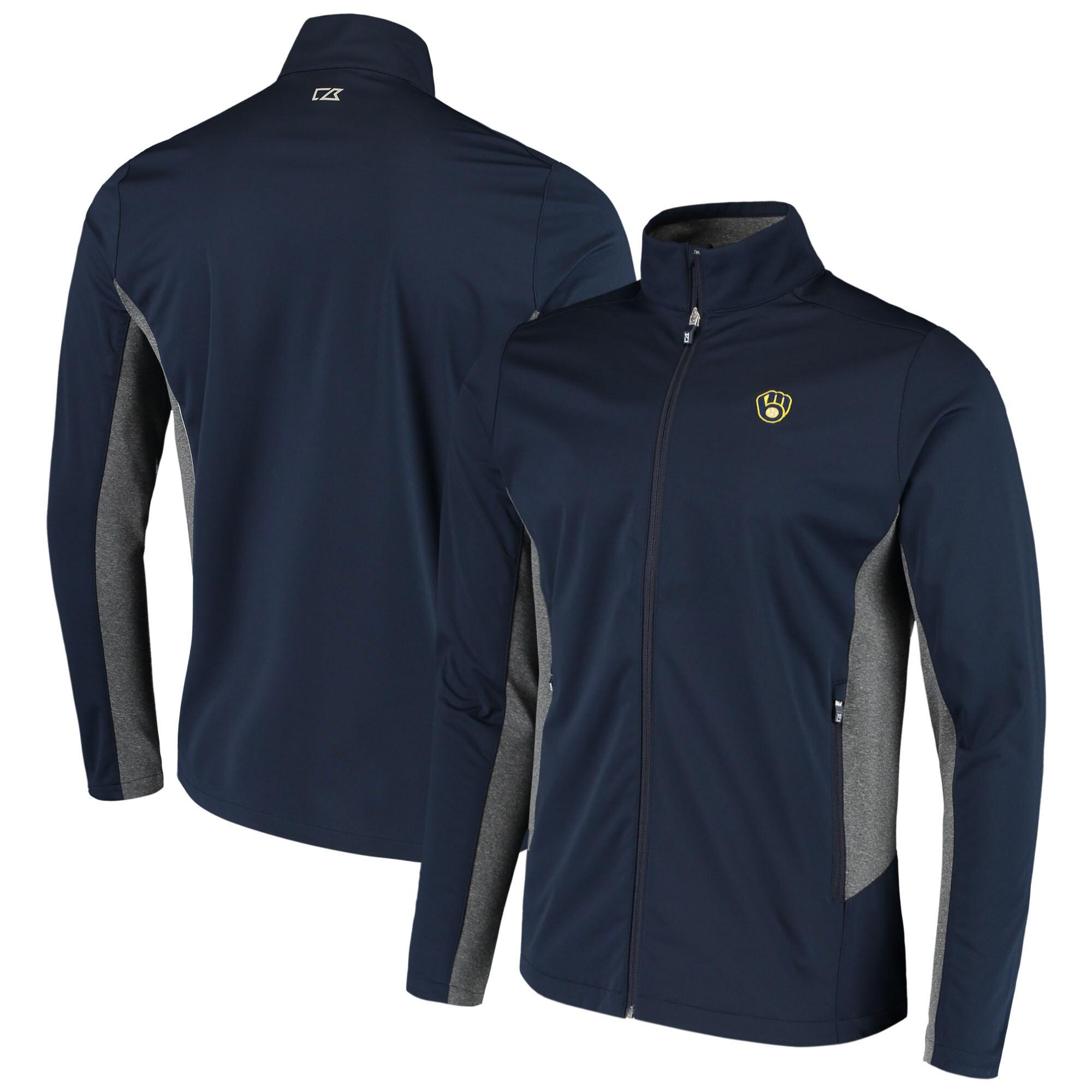 Milwaukee Brewers Cutter & Buck Navigate WeatherTec Full-Zip Jacket - Navy