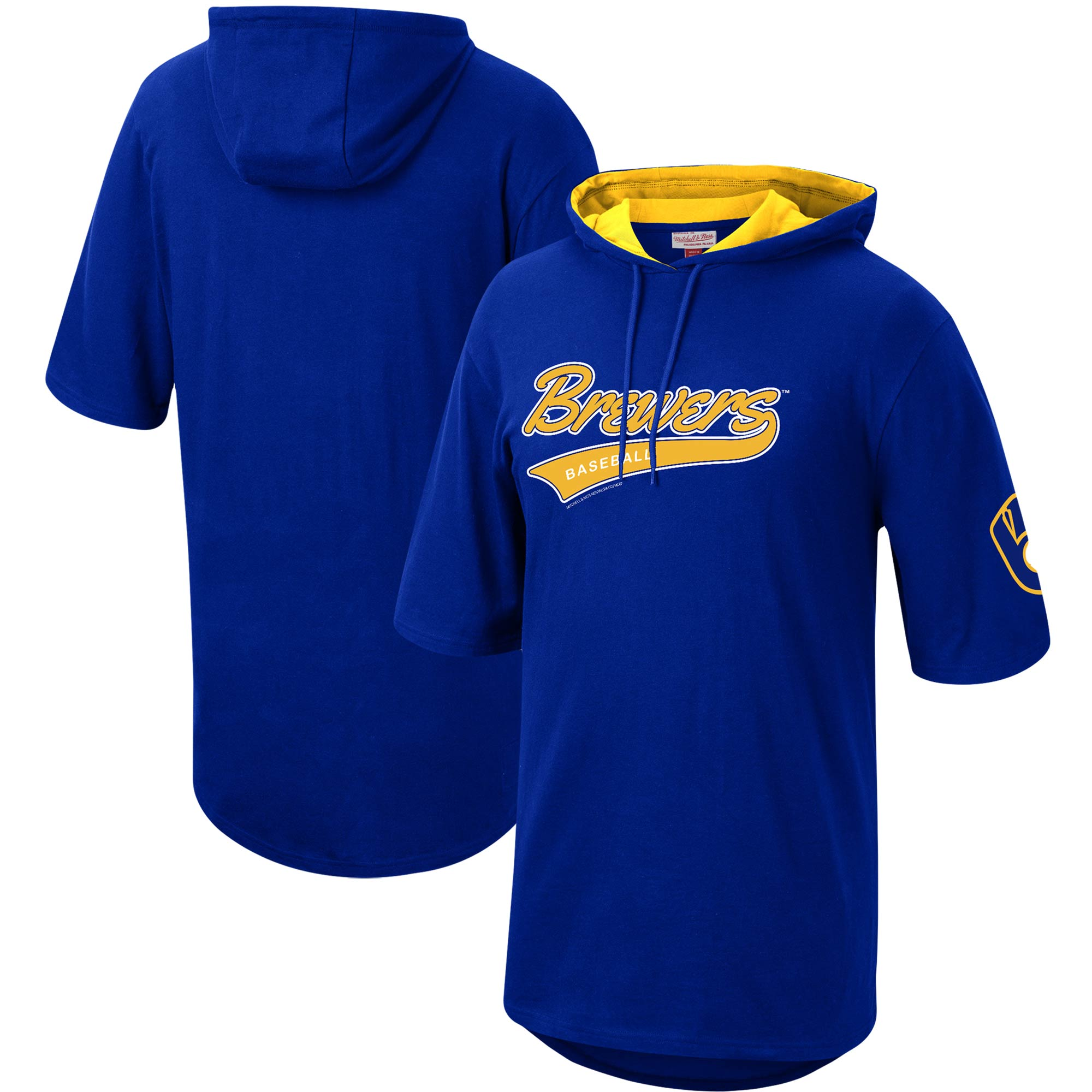 Milwaukee Brewers Mitchell & Ness Short Sleeve Pullover Hoodie - Royal