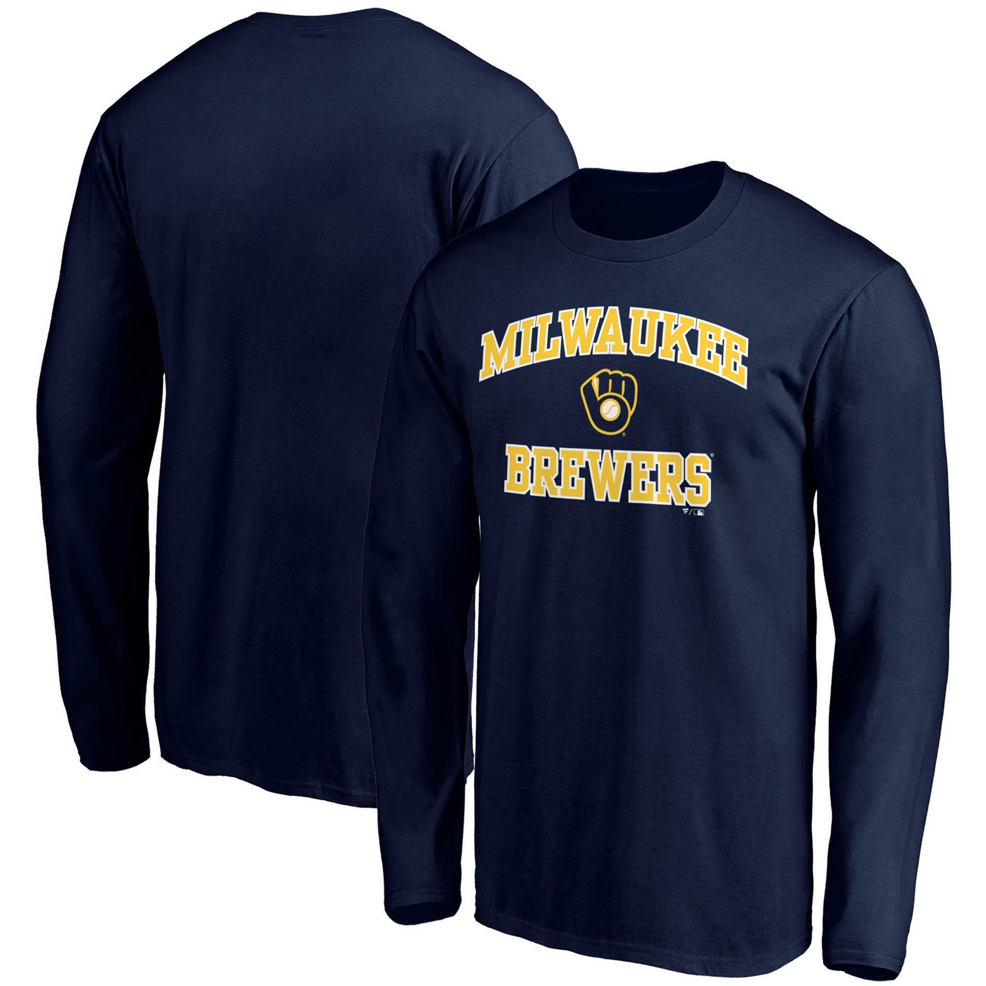 Milwaukee Brewers Fanatics Branded Heart & Soul Long Sleeve T-Shirt - Navy