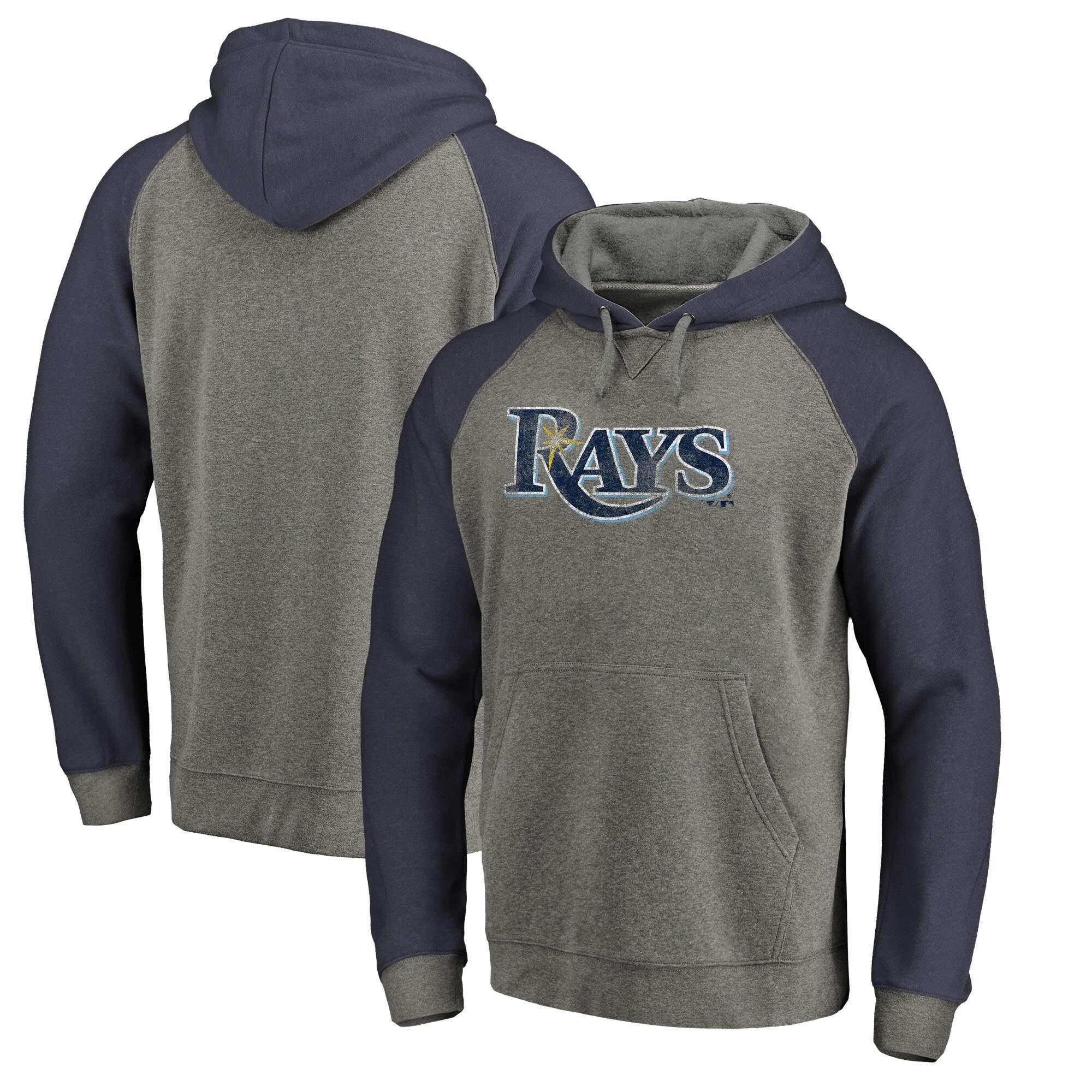 Tampa Bay Rays Fanatics Branded Distressed Team Logo Tri-Blend Raglan Pullover Hoodie - Gray/Navy