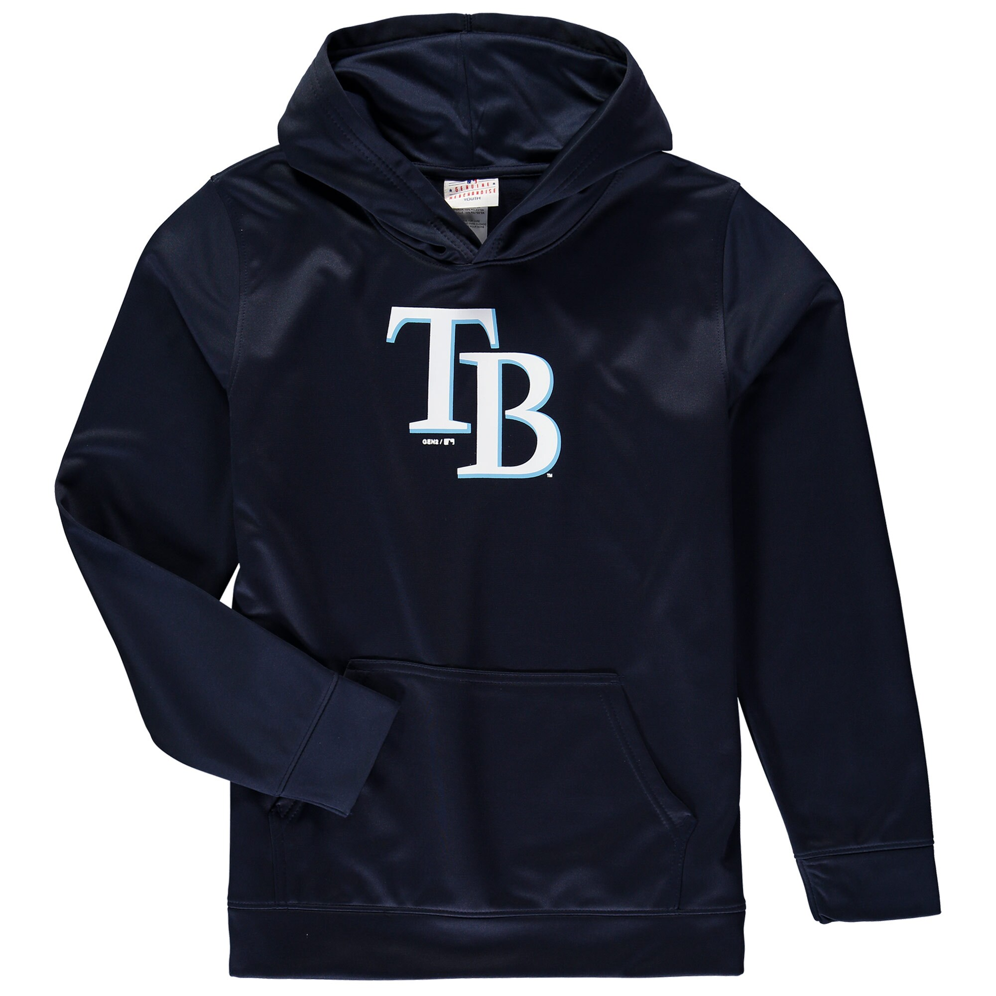 Tampa Bay Rays Youth Team Logo Fleece Pullover Hoodie - Navy