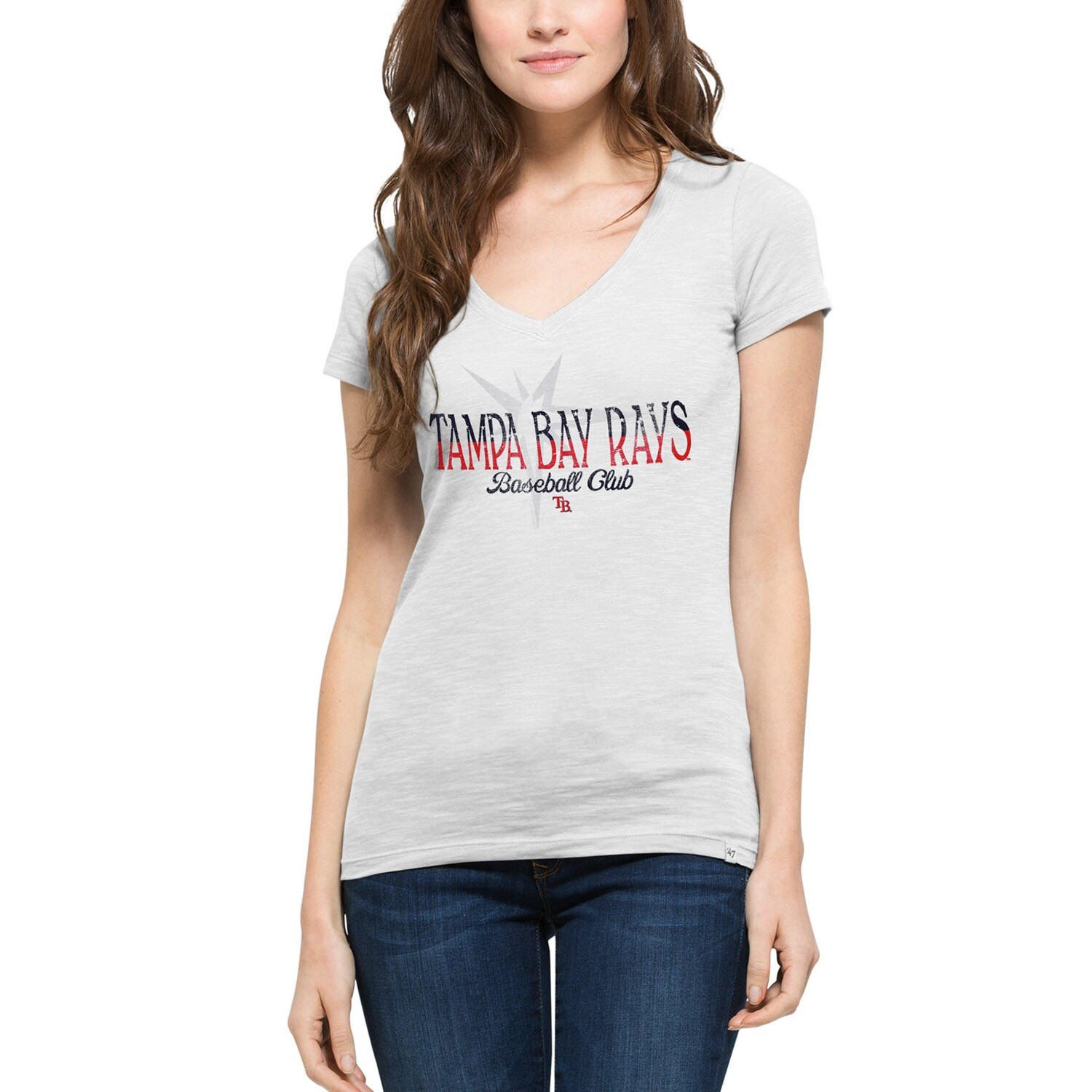 Tampa Bay Rays '47 Women's Stars & Stripes Scrum V-Neck T-Shirt - White