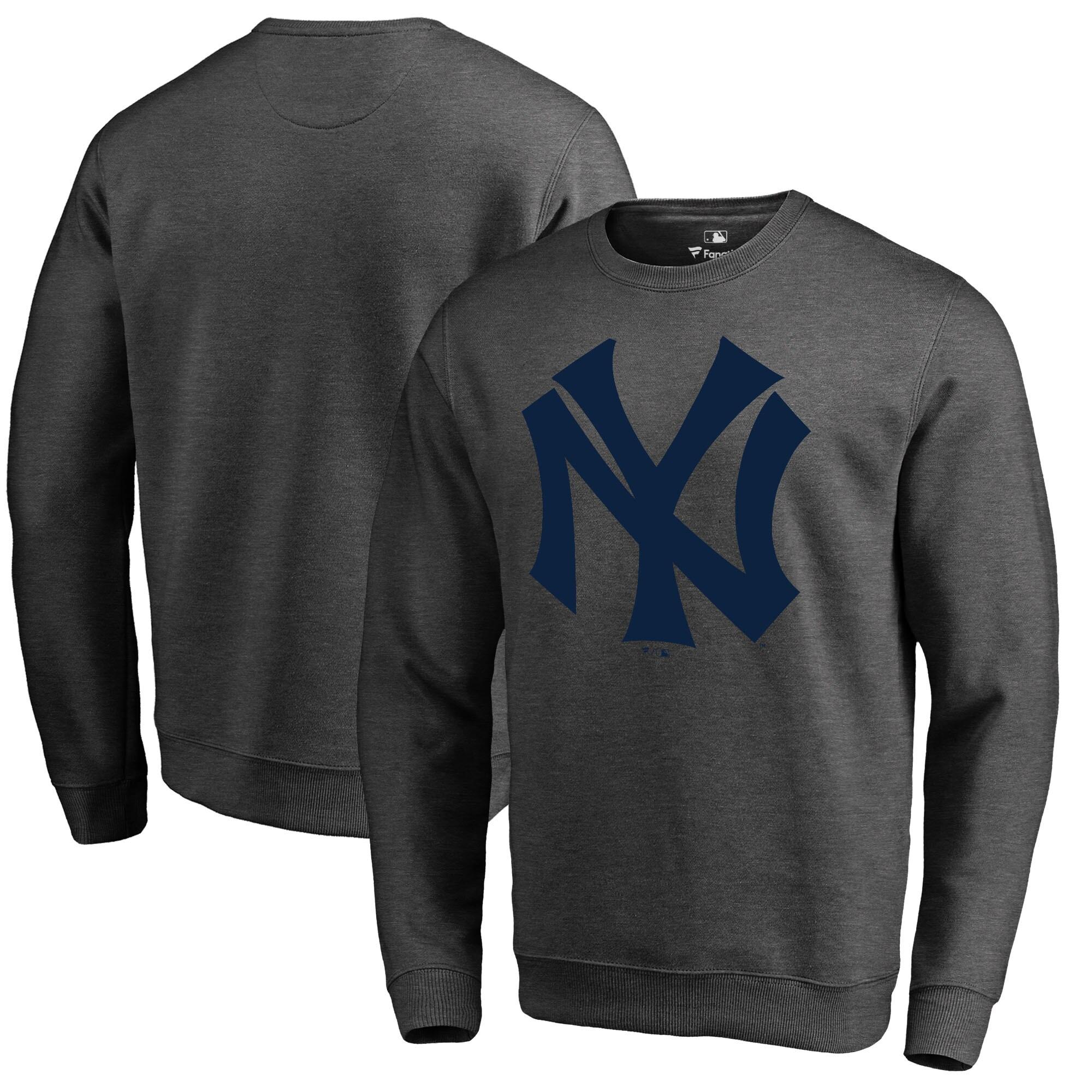 New York Yankees Fanatics Branded Cooperstown Collection Huntington Sweatshirt - Heathered Gray