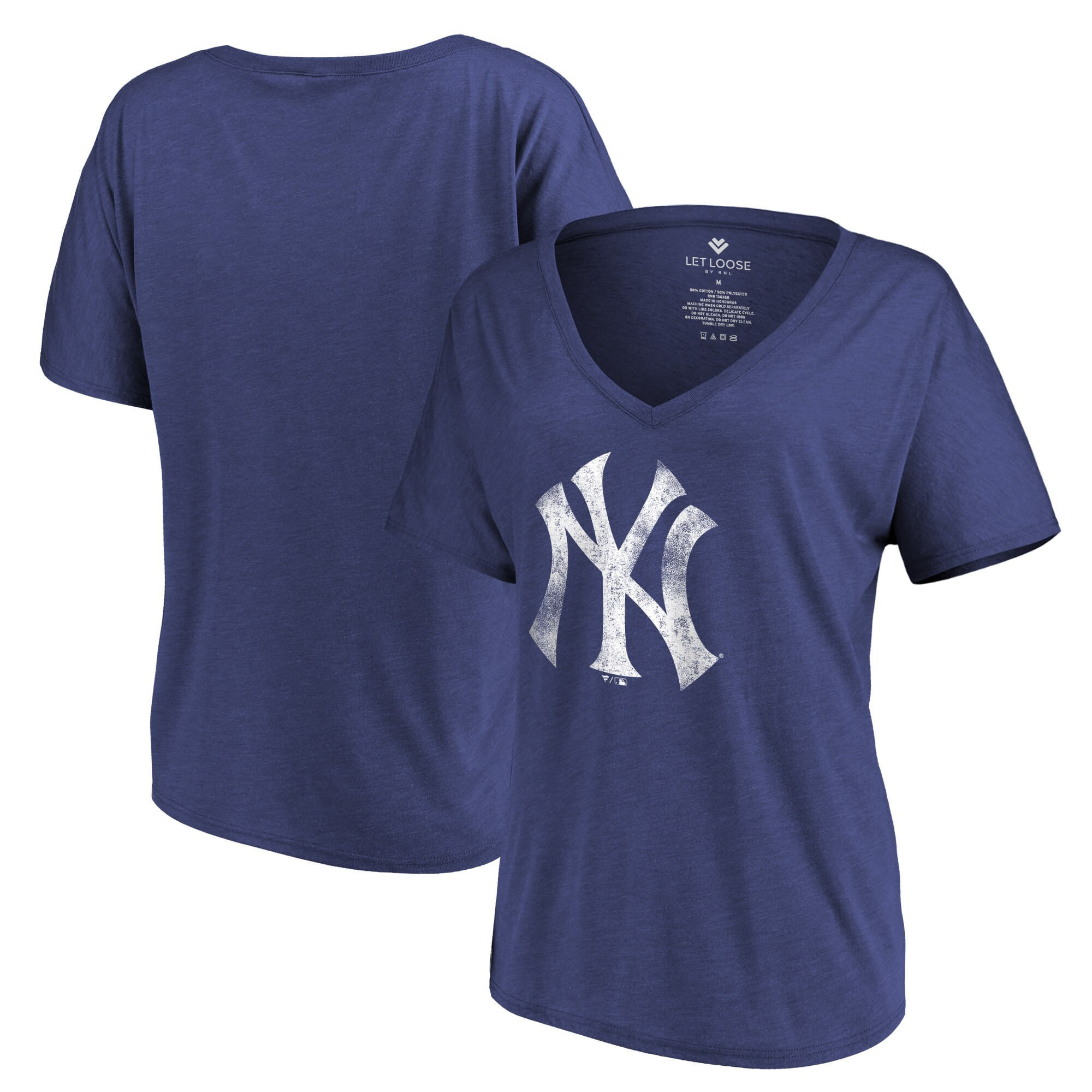 New York Yankees Let Loose by RNL Women's Distressed Primary Logo T-Shirt - Navy