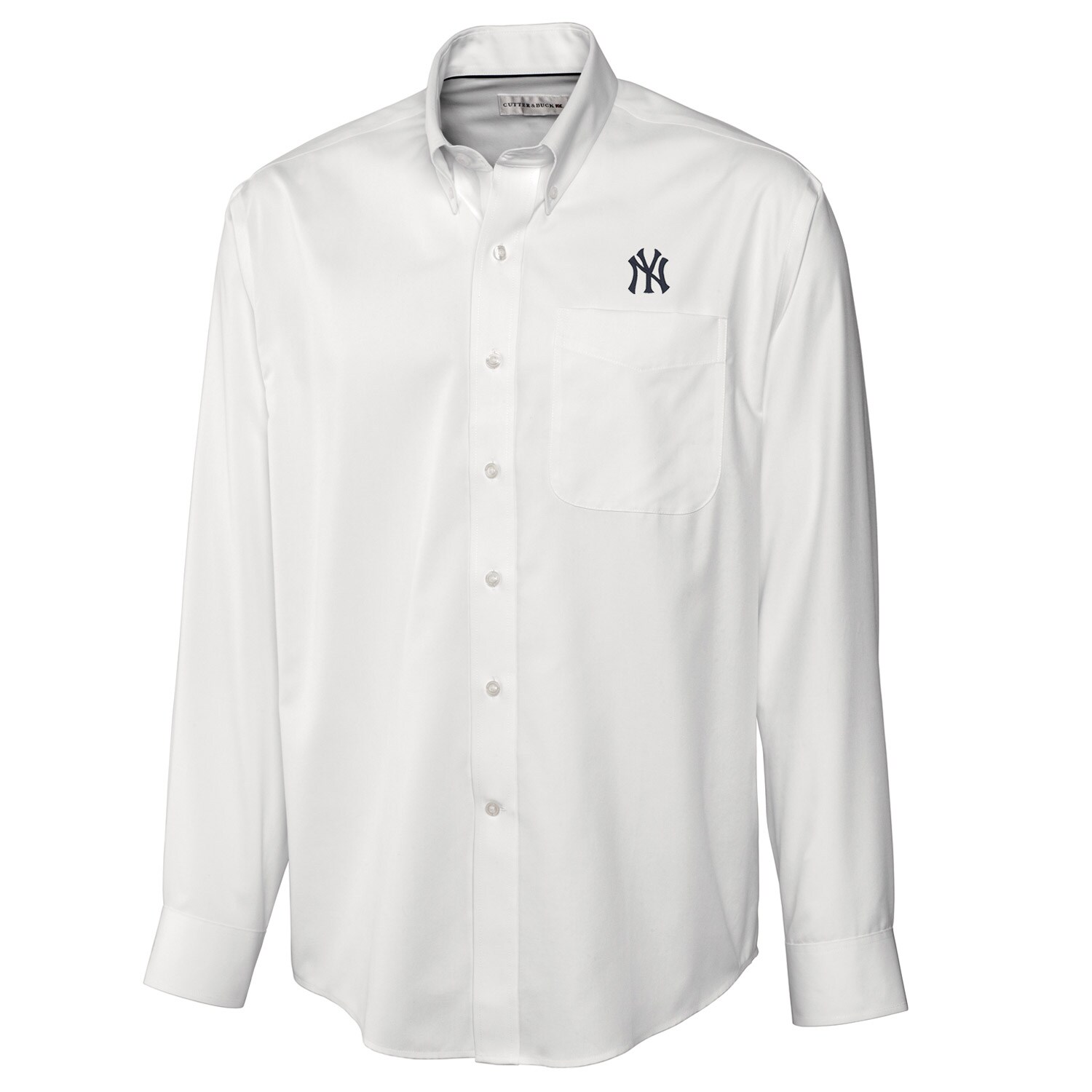 New York Yankees Cutter & Buck Big & Tall Epic Easy Care Fine Twill Long Sleeve Shirt - White