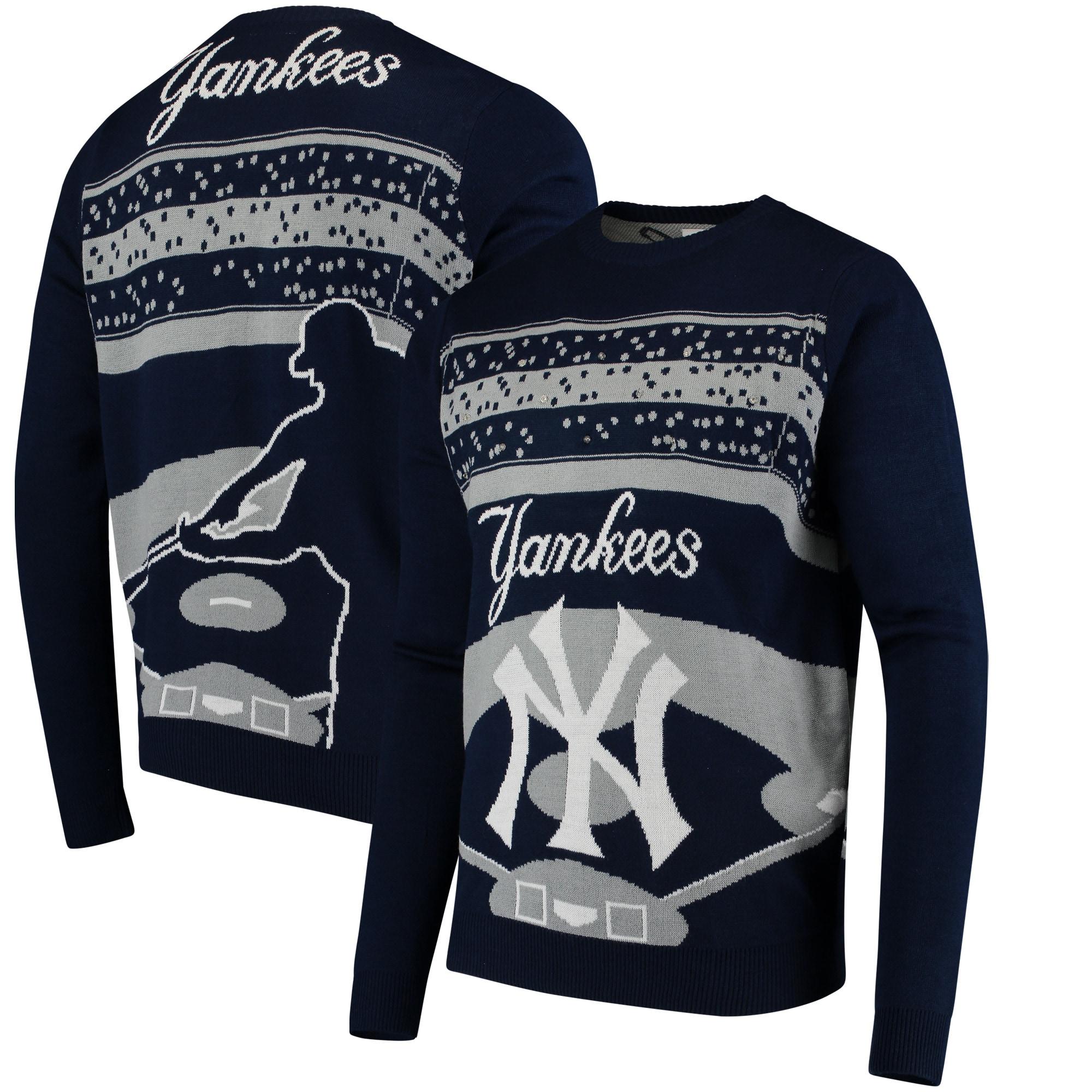 New York Yankees Light Up Crew Neck Sweater - Navy