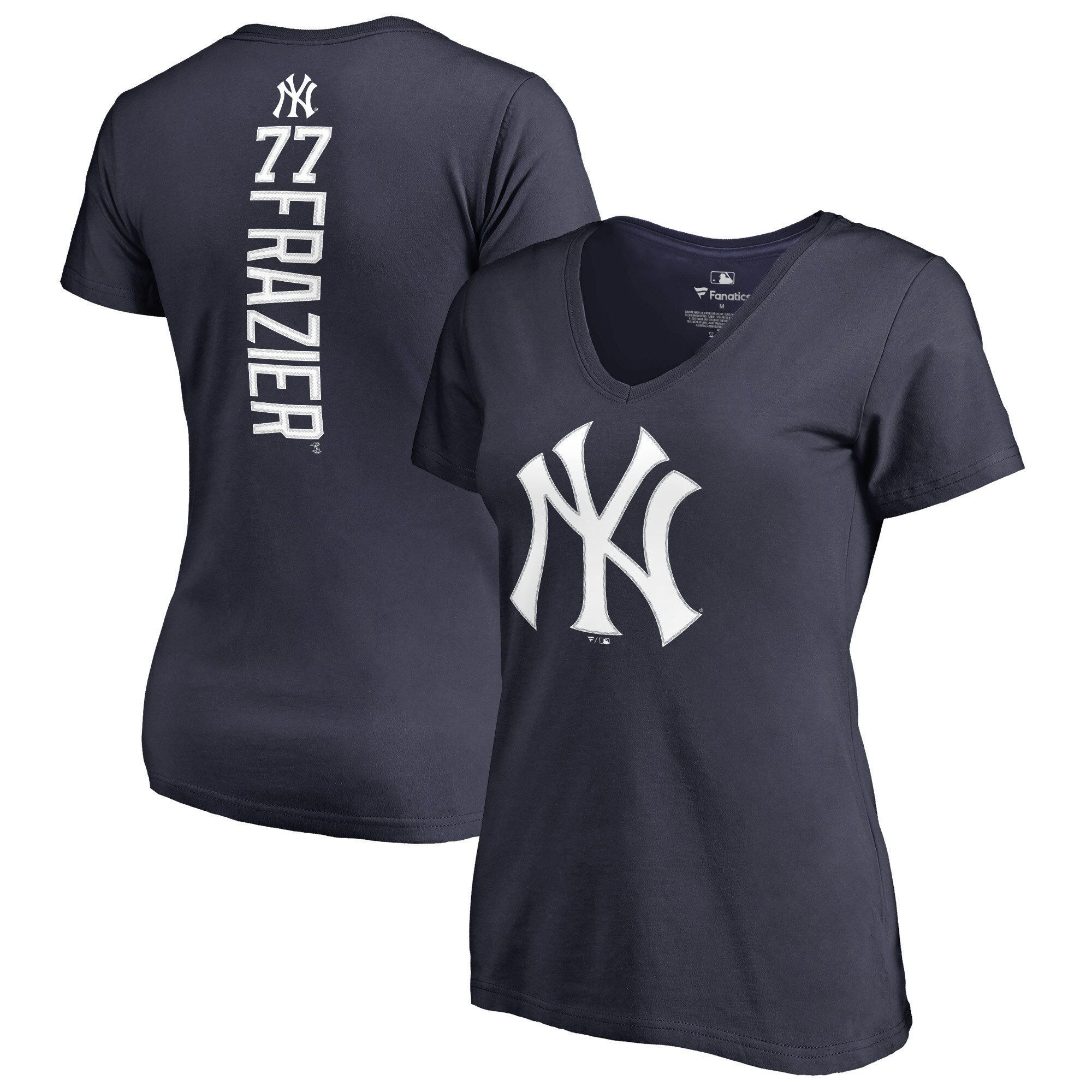 Clint Frazier New York Yankees Fanatics Branded Women's Backer V-Neck T-Shirt - Navy
