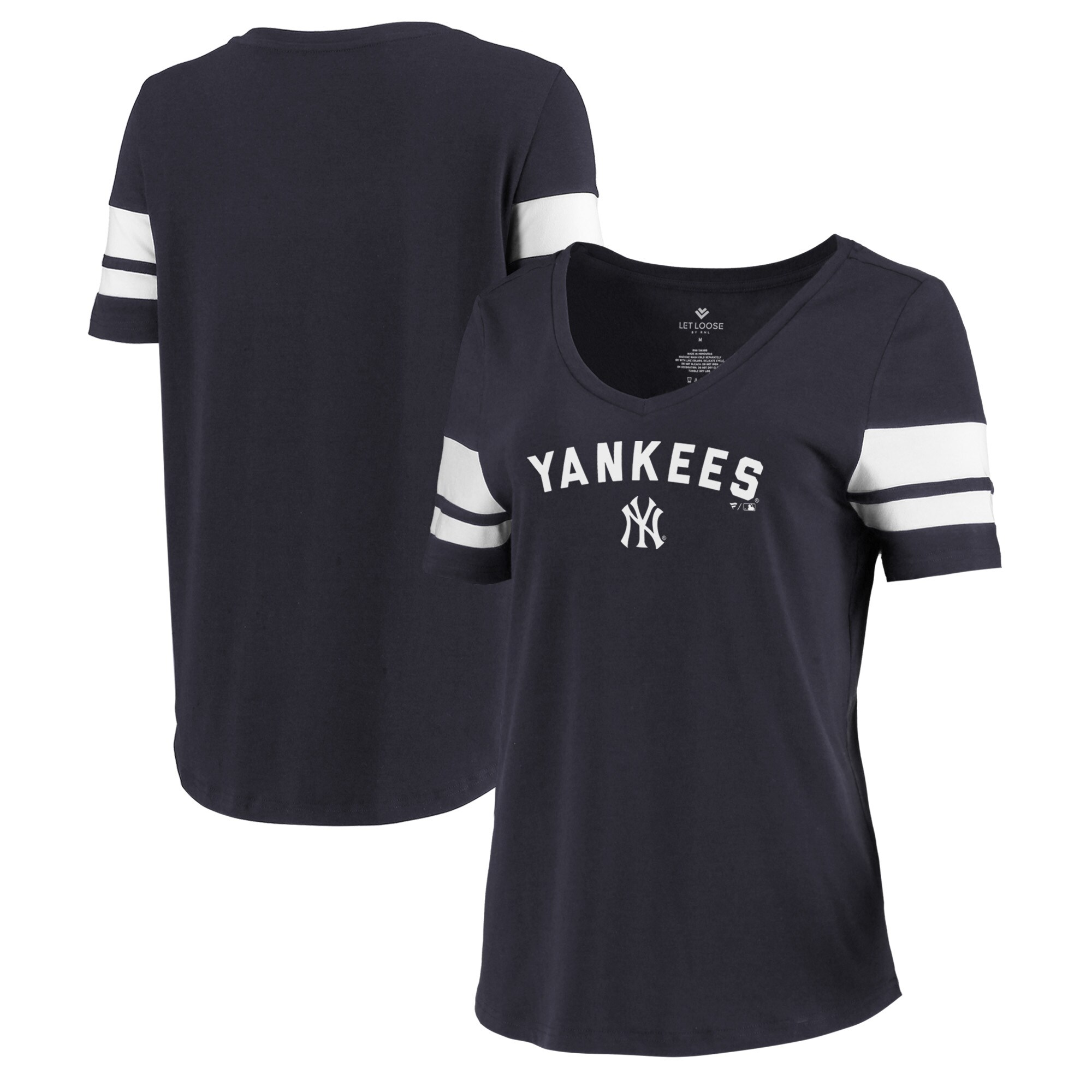 New York Yankees Let Loose by RNL Women's Scramble Two Stripe Tri-Blend T-Shirt - Navy