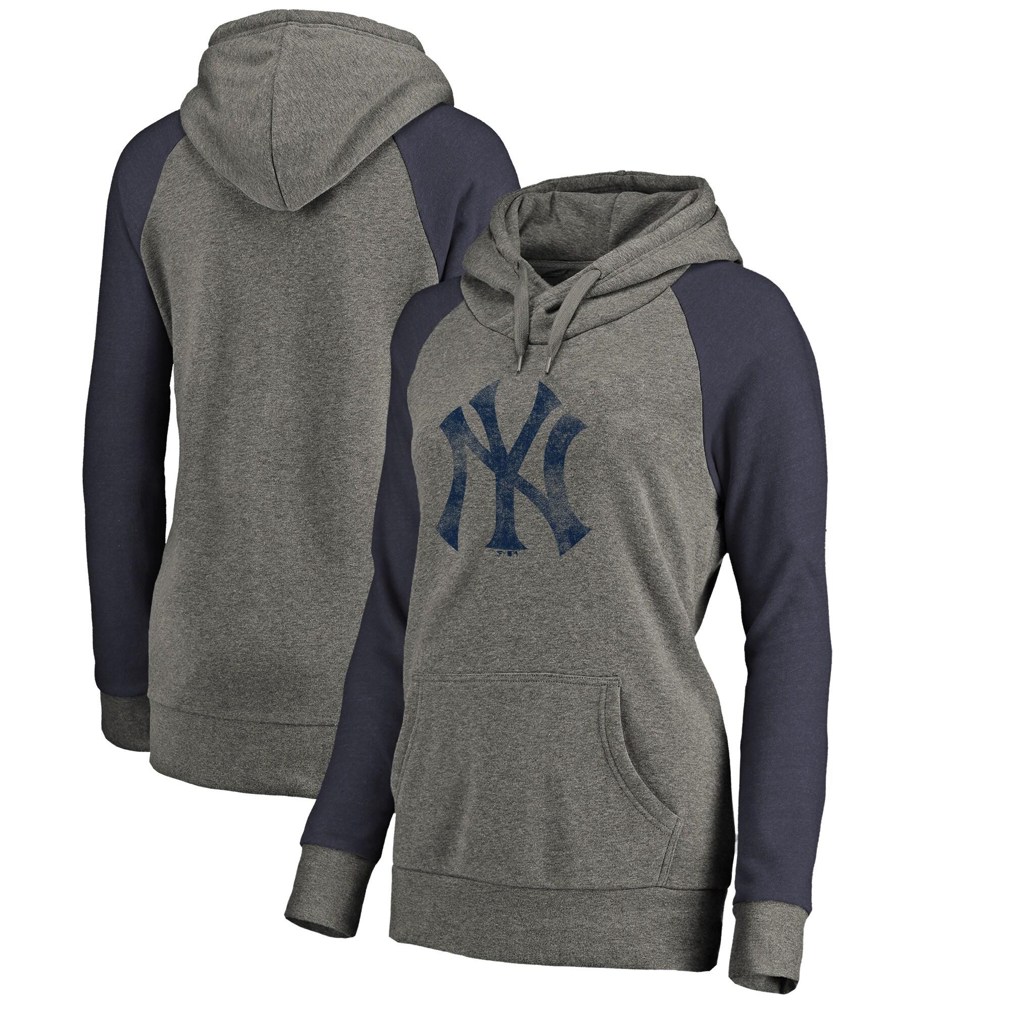 New York Yankees Fanatics Branded Women's Distressed Team Logo Tri-Blend Raglan Pullover Hoodie - Gray/Navy