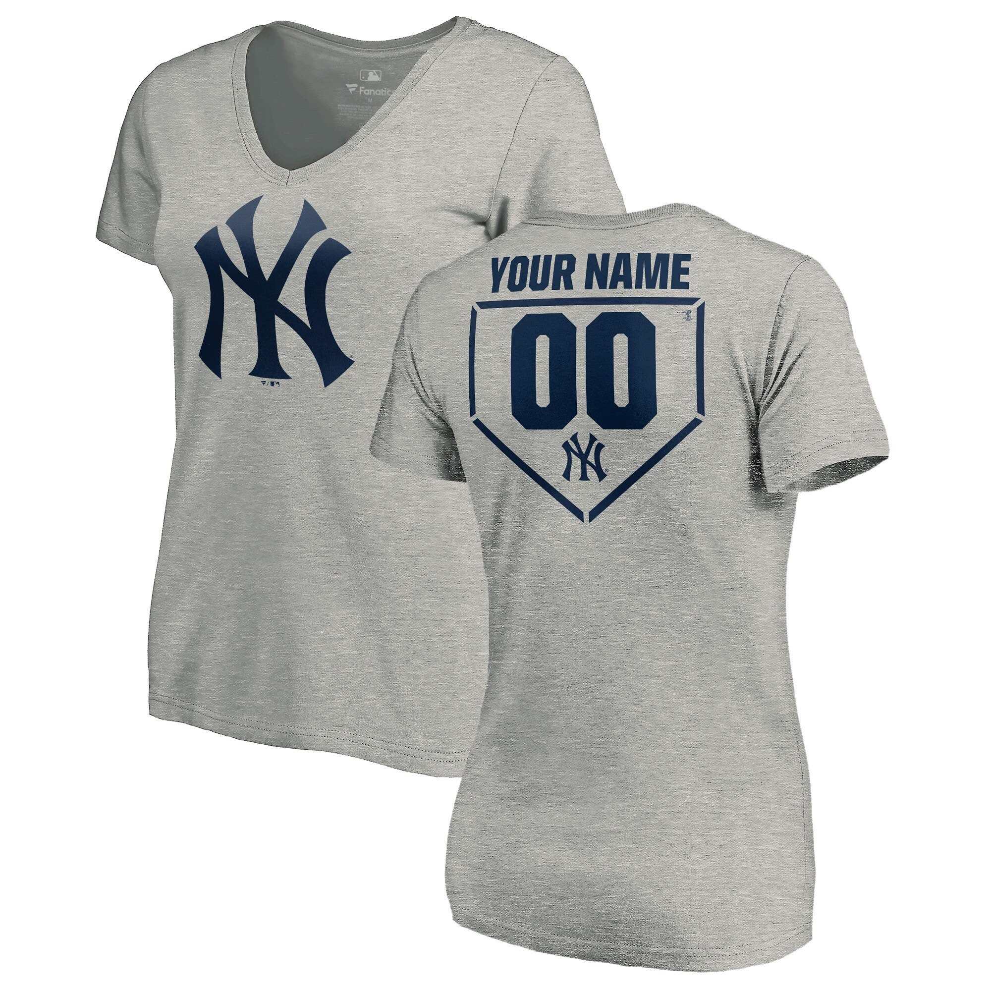 New York Yankees Fanatics Branded Women's Personalized RBI Slim Fit V-Neck T-Shirt - Heathered Gray