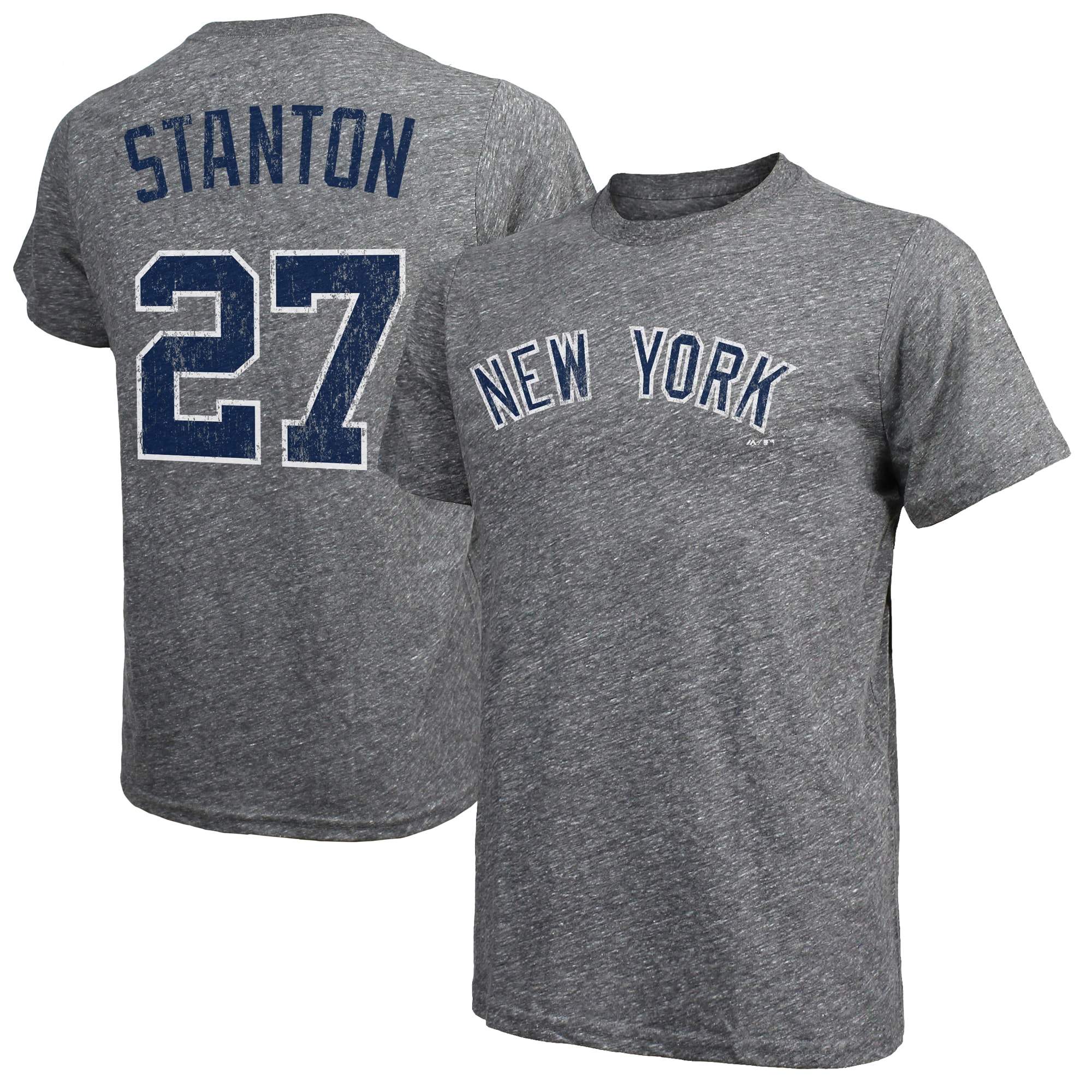 Giancarlo Stanton New York Yankees Majestic Threads Name & Number Tri-Blend T-Shirt - Gray