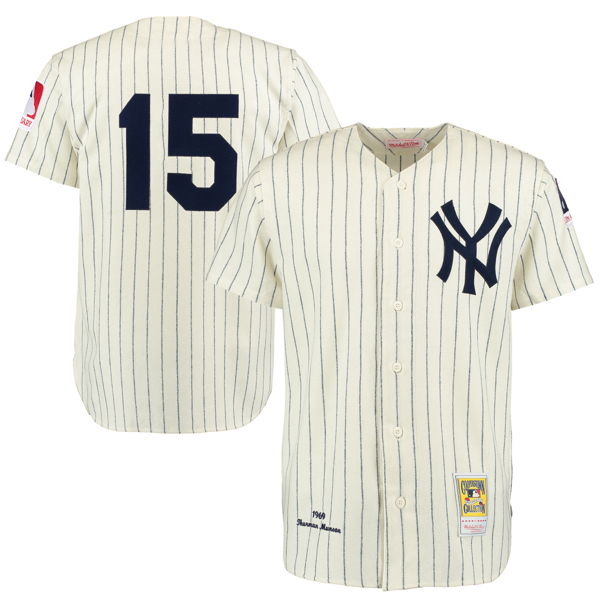 Thurman Munson New York Yankees Mitchell & Ness Throwback 1969 Authentic Jersey - Cream/Navy