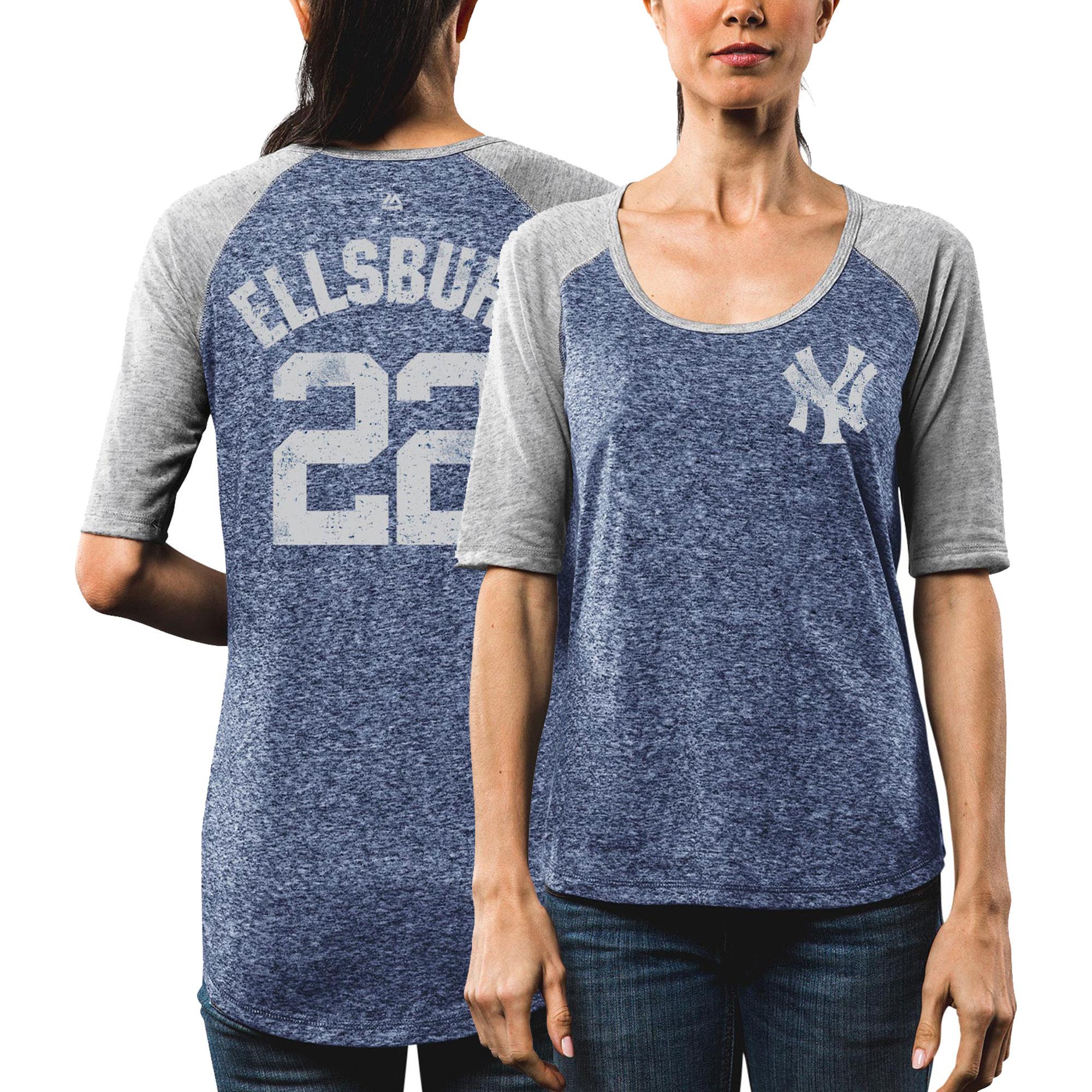 Jacoby Ellsbury New York Yankees Majestic Women's Victory Player Half-Sleeve T-Shirt - Navy/Gray