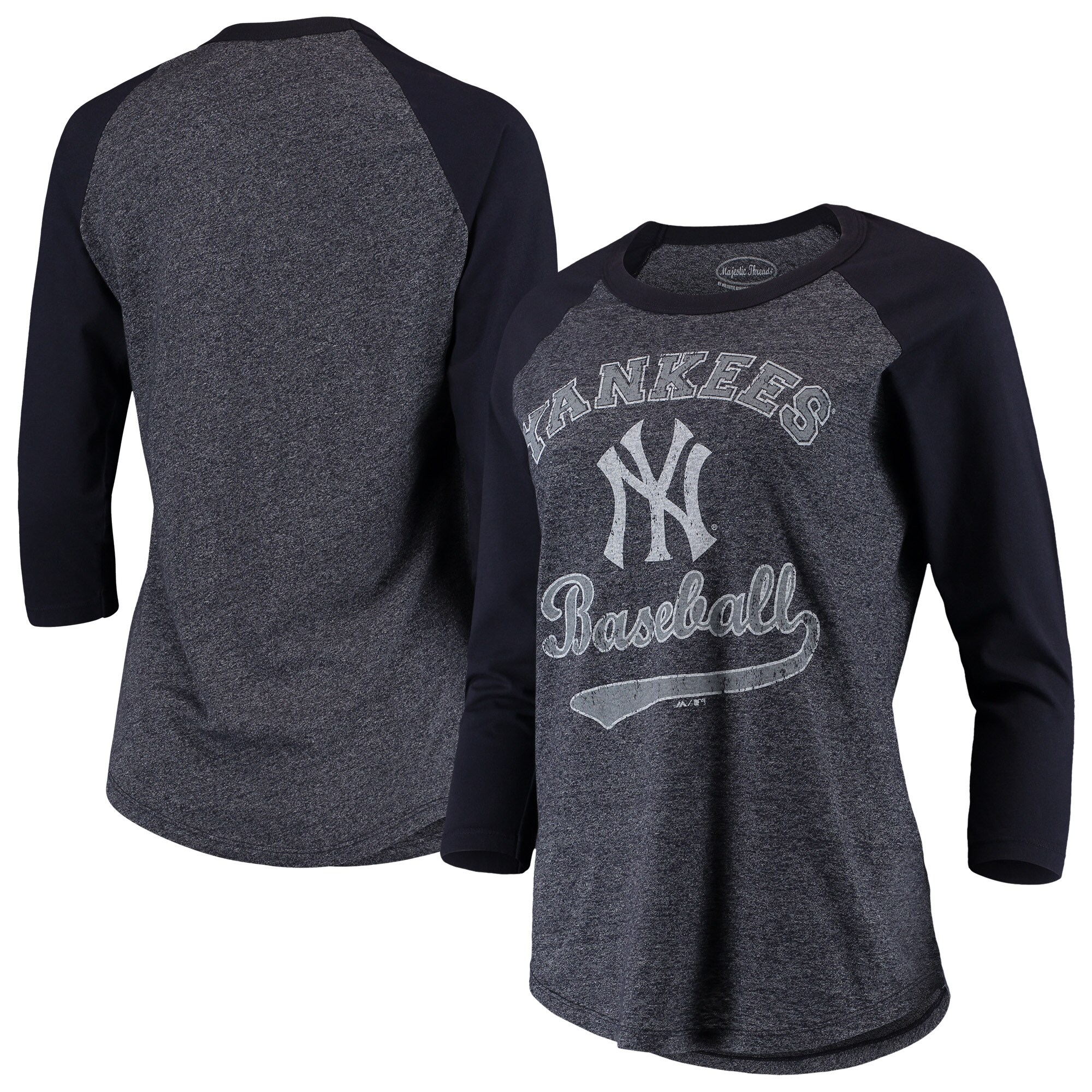 New York Yankees Majestic Threads Women's Team Baseball Three-Quarter Raglan Sleeve Tri-Blend T-Shirt - Navy