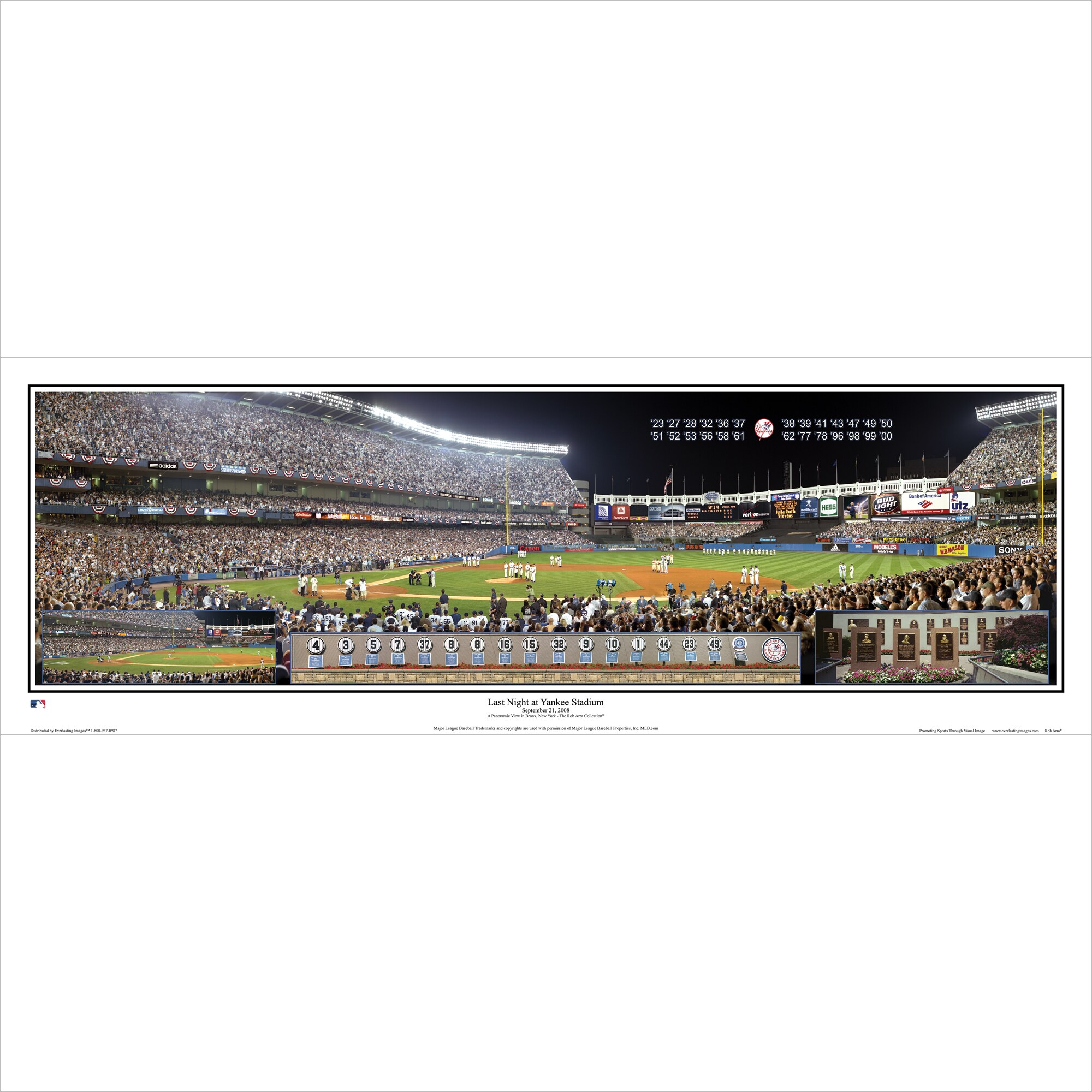 "New York Yankees 39"" x 13.5"" Last Night at Yankee Stadium Standard Black Framed Panoramic"