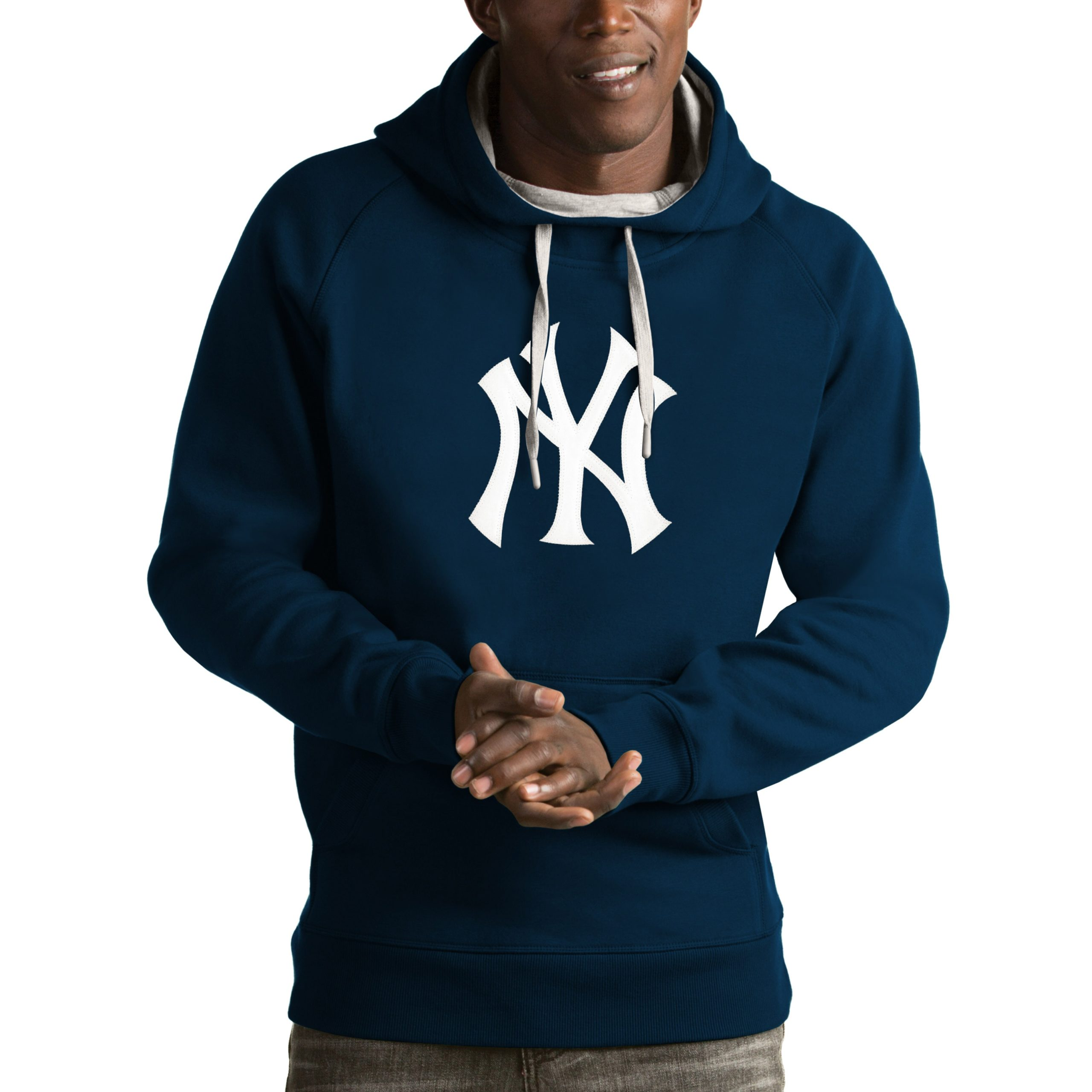 New York Yankees Antigua Victory Pullover Hoodie - Navy
