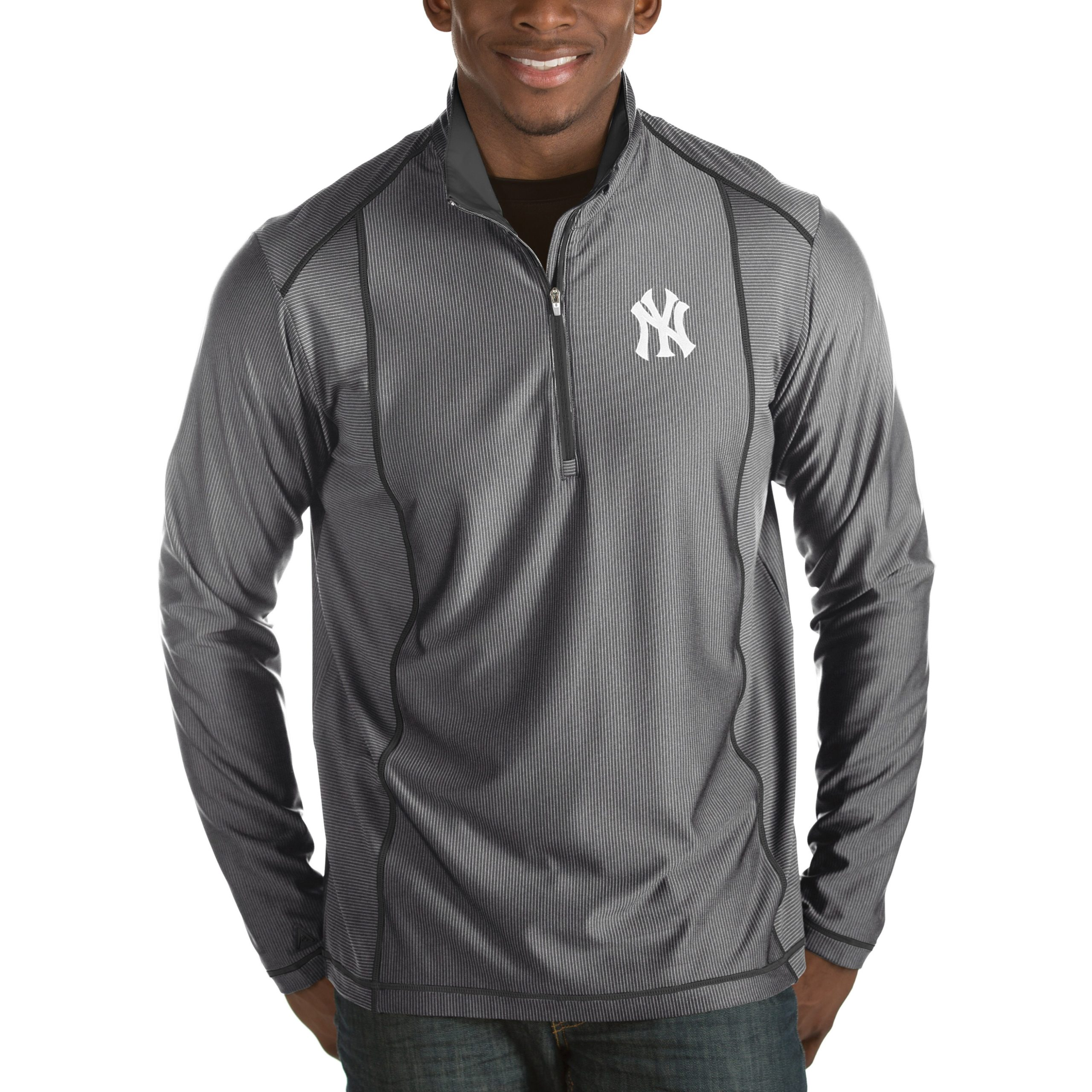 New York Yankees Antigua Tempo Half-Zip Pullover Jacket - Heathered Charcoal
