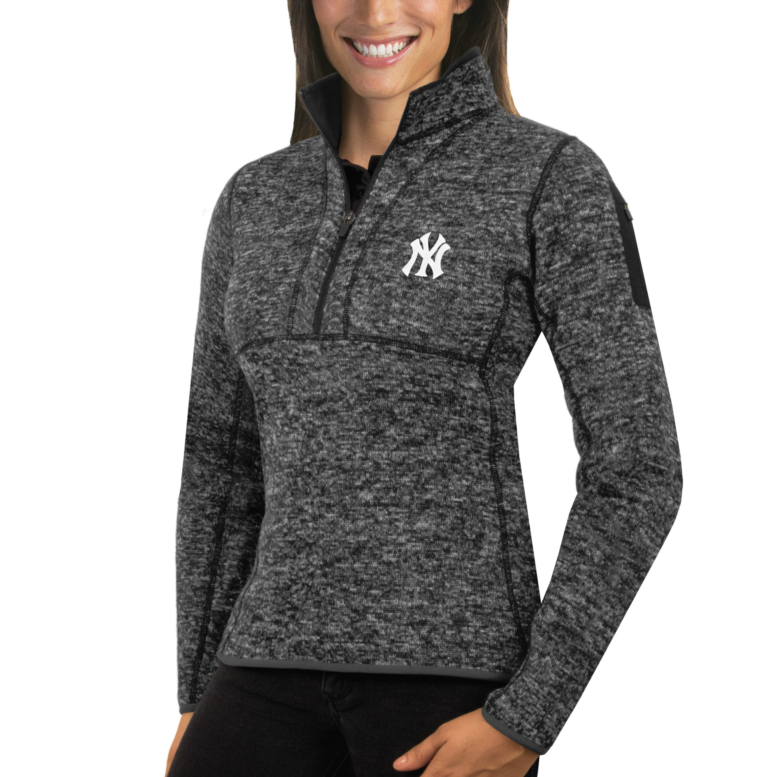 New York Yankees Antigua Women's Fortune Half-Zip Pullover Sweater - Heathered Charcoal