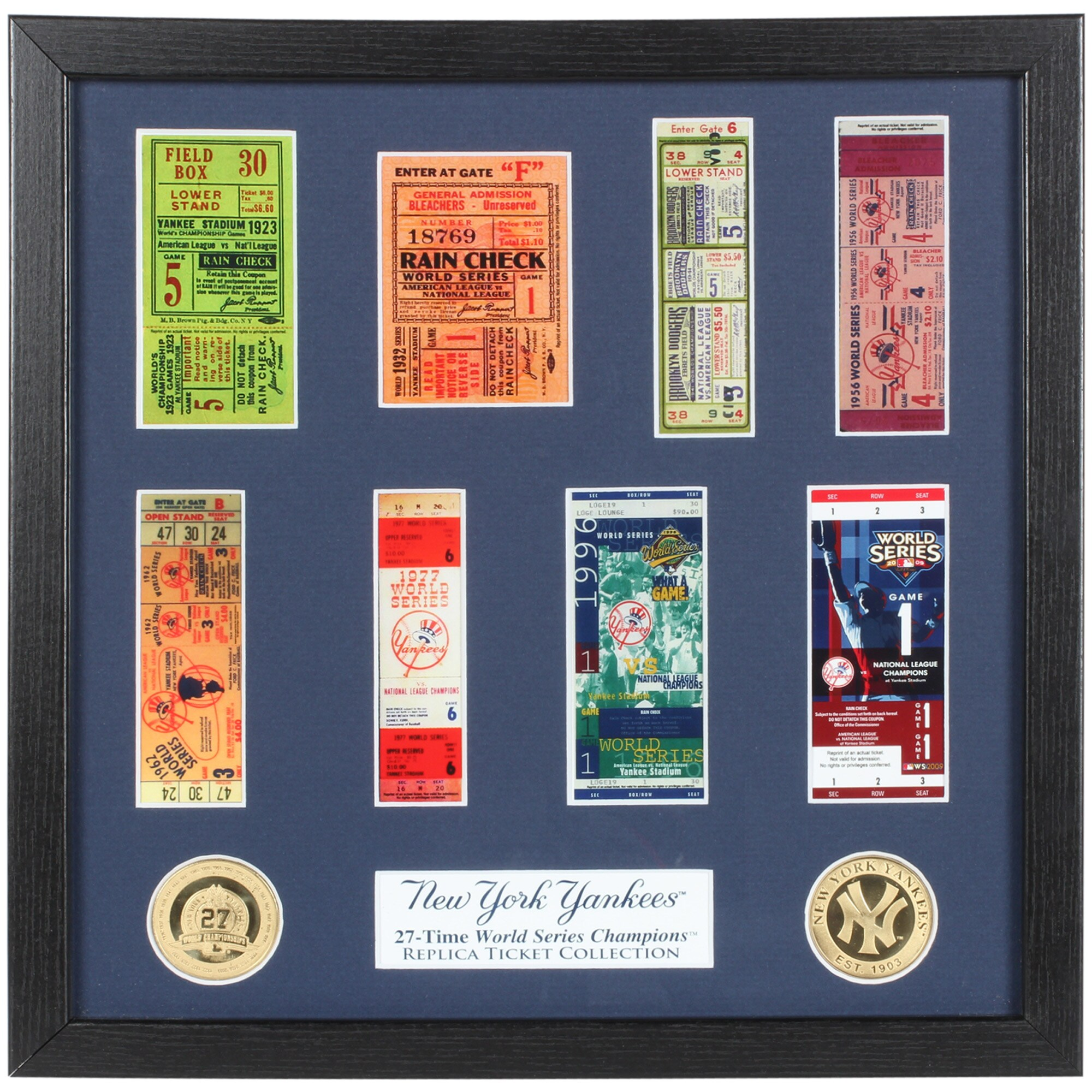 """New York Yankees Highland Mint 13"""" x 13"""" World Series Ticket Collection"""