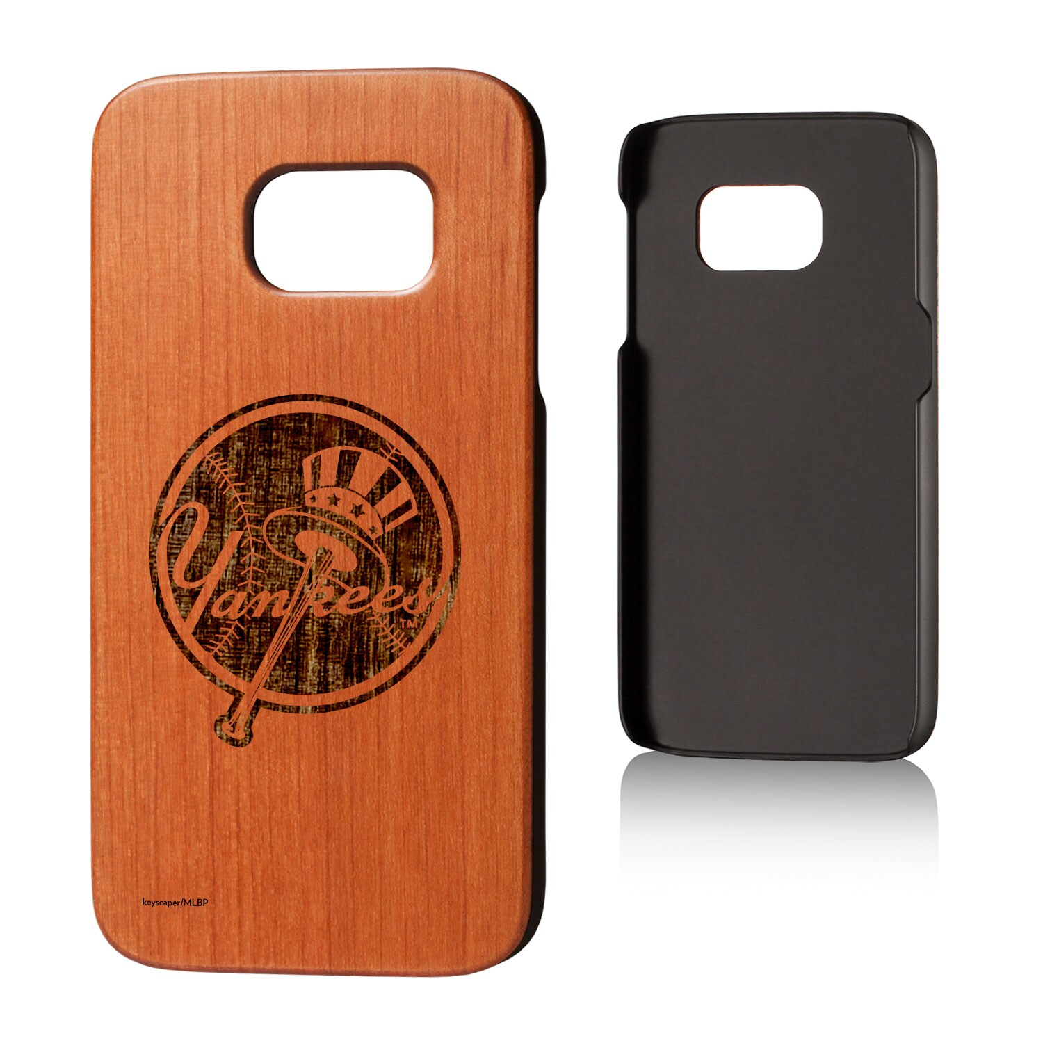New York Yankees Galaxy S7 Branded Logo Cherry Wood Case
