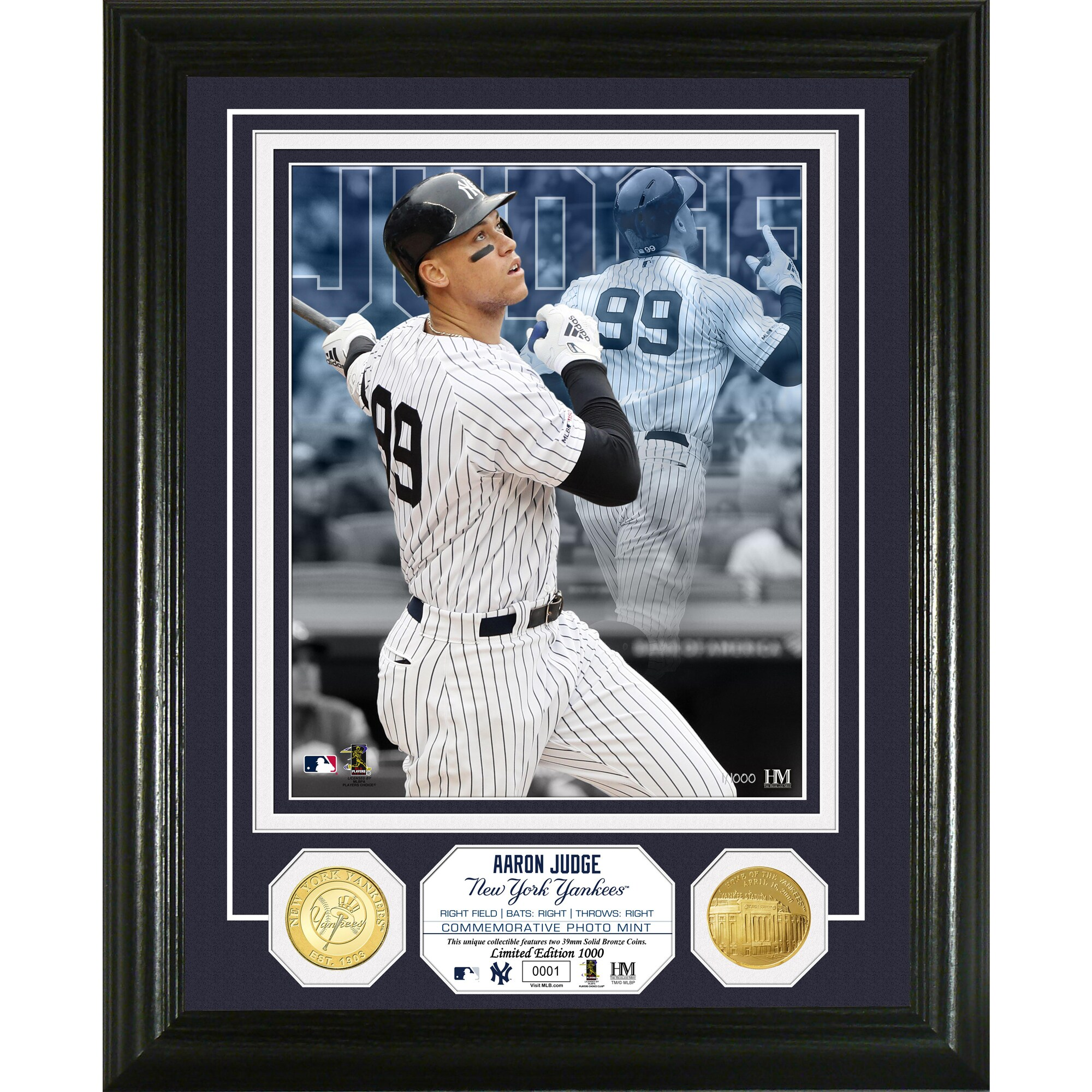 Aaron Judge New York Yankees Highland Mint 13'' x 16'' Bronze Coin Photo Mint