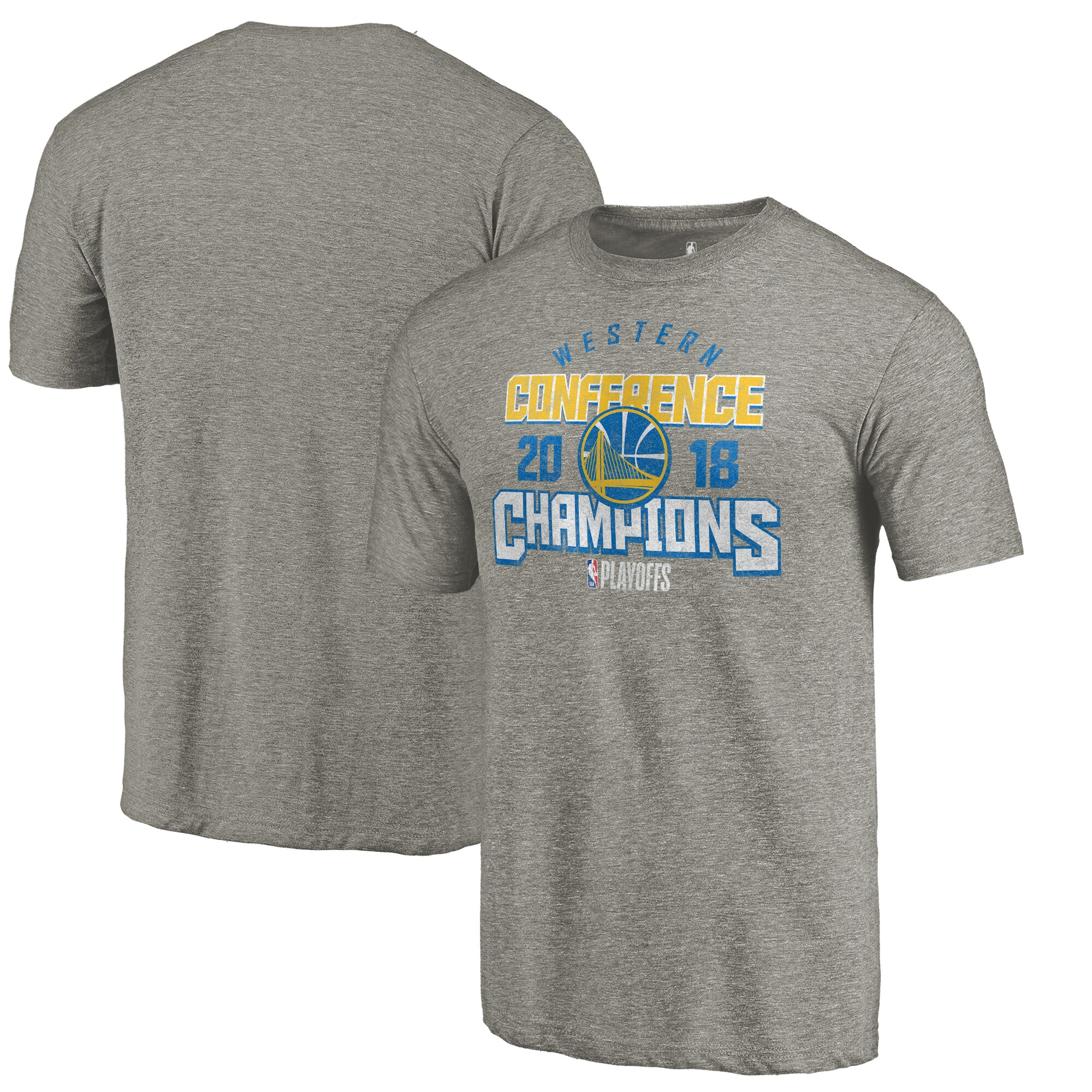 Golden State Warriors Fanatics Branded 2018 Western Conference Champions Catch and Shoot Tri-Blend T-Shirt - Gray