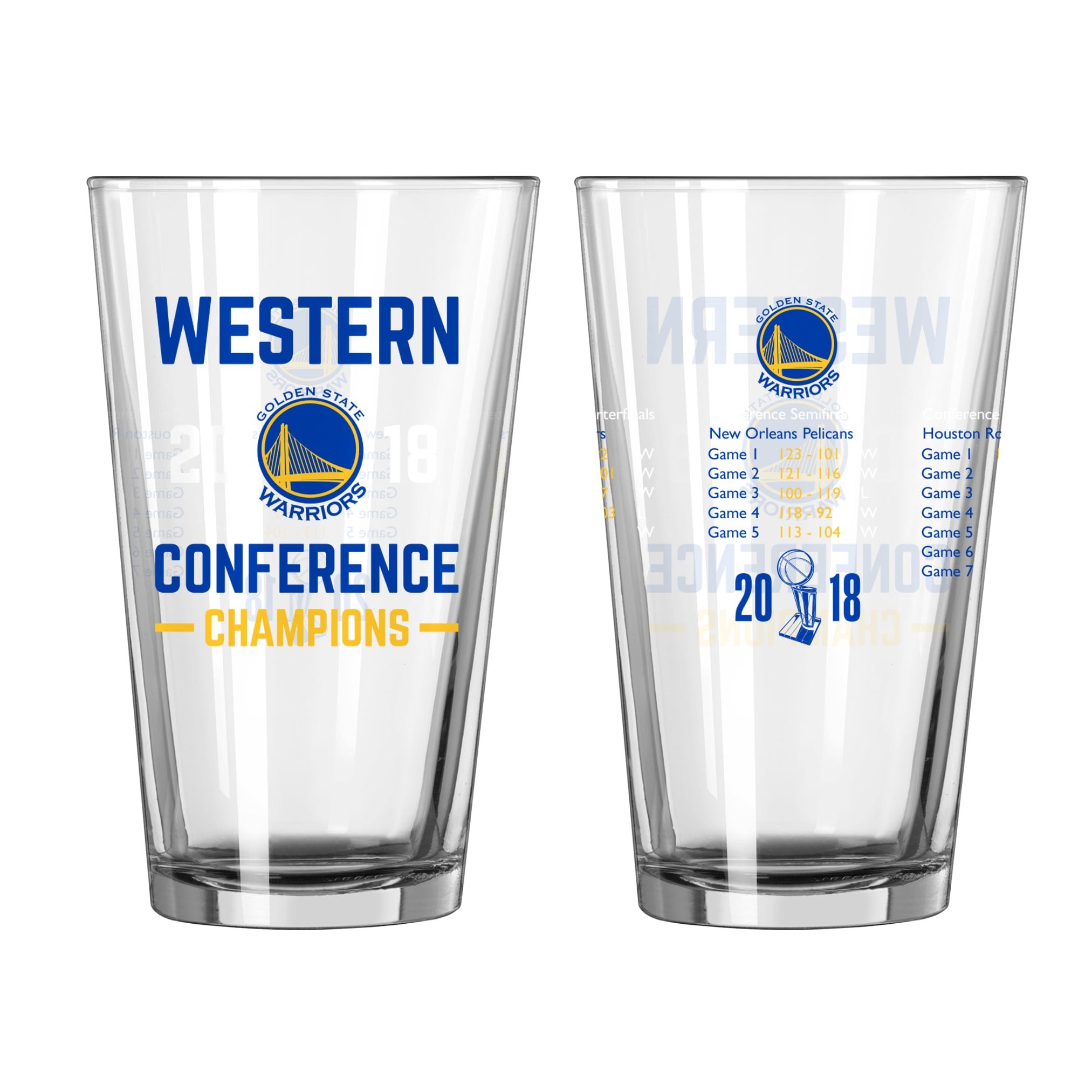 Golden State Warriors 2018 Western Conference Champions 16oz. Summary Pint Glass
