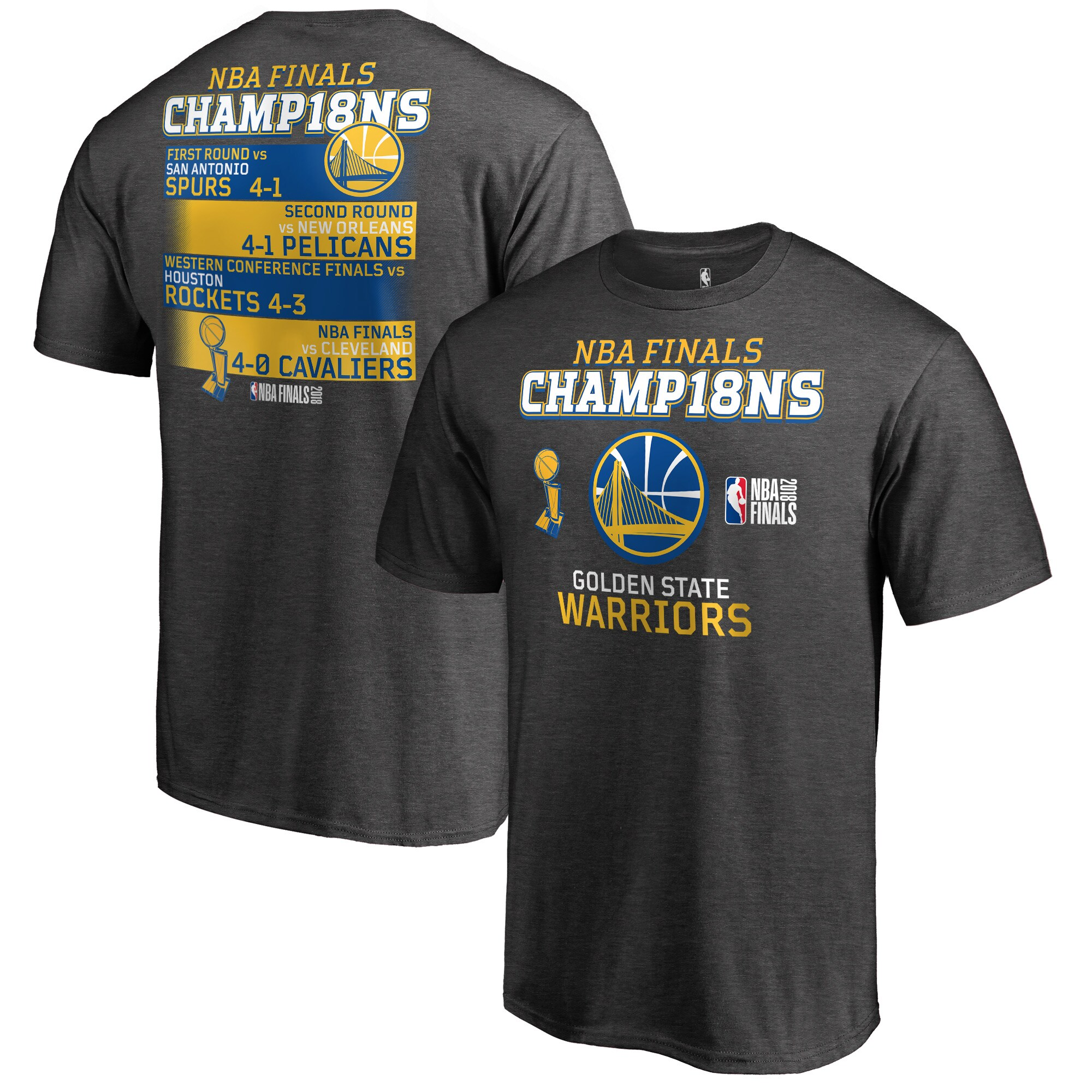 Golden State Warriors Fanatics Branded 2018 NBA Finals Champions All-Time Baller Schedule Big & Tall T-Shirt - Heather Charcoal