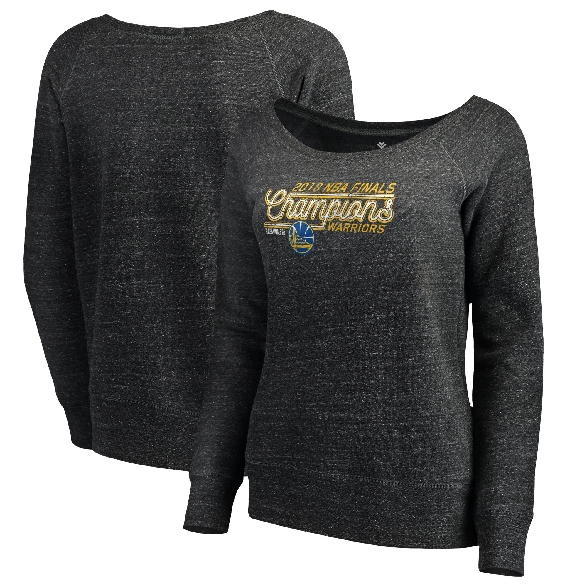 Golden State Warriors Fanatics Branded Women's 2018 NBA Finals Champions Cut to the Rim Long Sleeve Pullover - Heather Charcoal