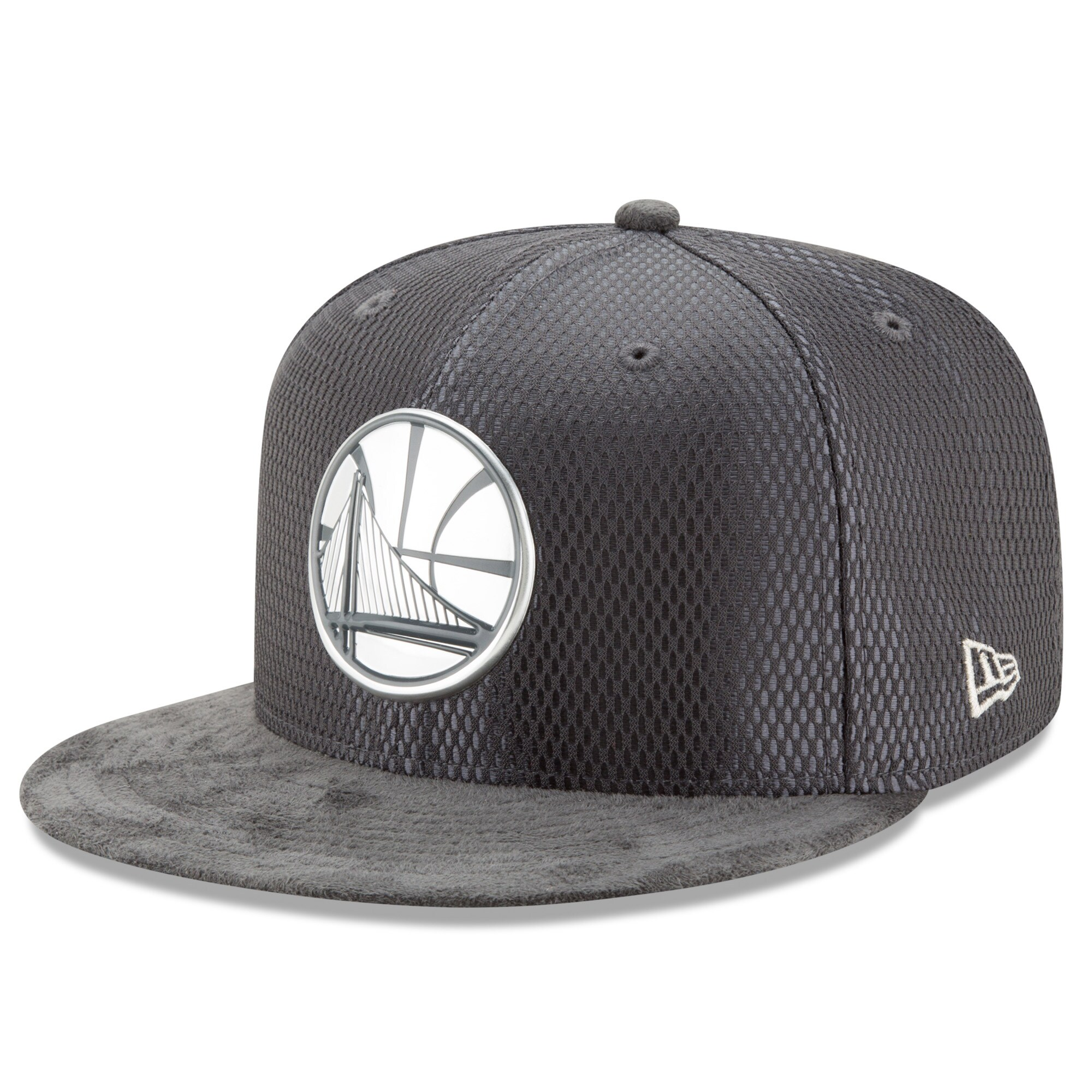 Golden State Warriors New Era Draft Silver Logo 59FIFTY Fitted Hat - Graphite