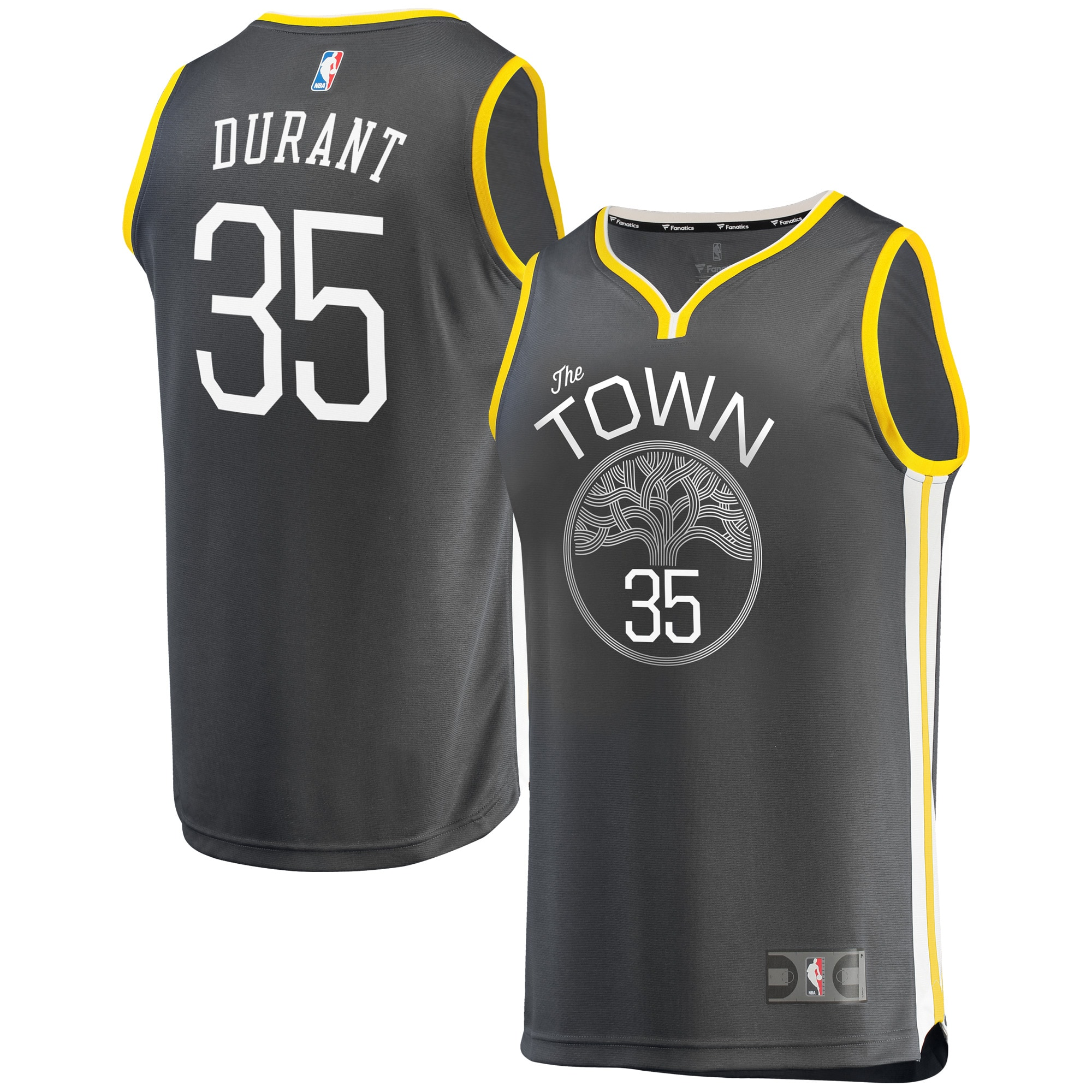 Kevin Durant Golden State Warriors Fanatics Branded Fast Break Replica Jersey Charcoal - Statement Edition