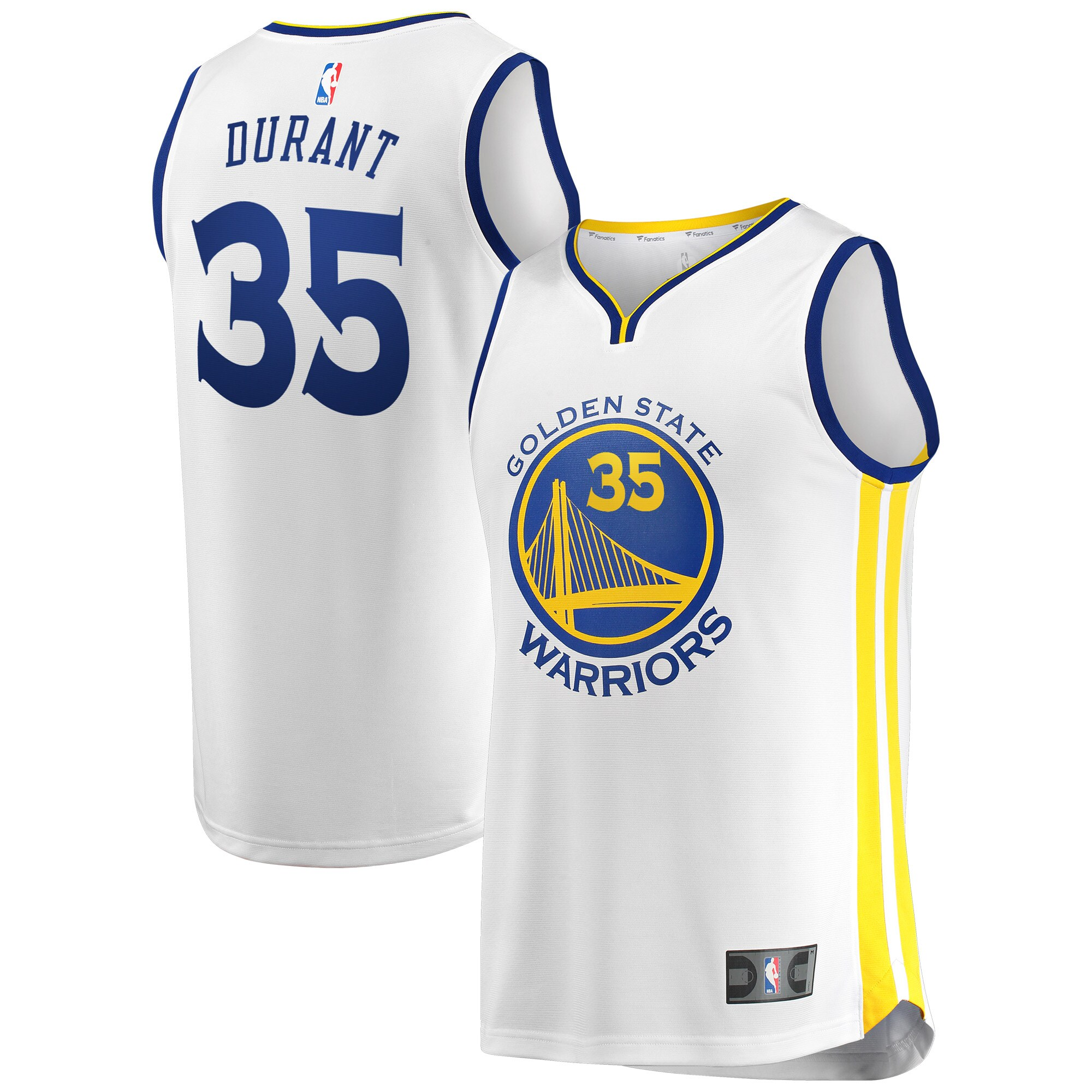 Kevin Durant Golden State Warriors Fanatics Branded Fast Break Replica Jersey White - Association Edition