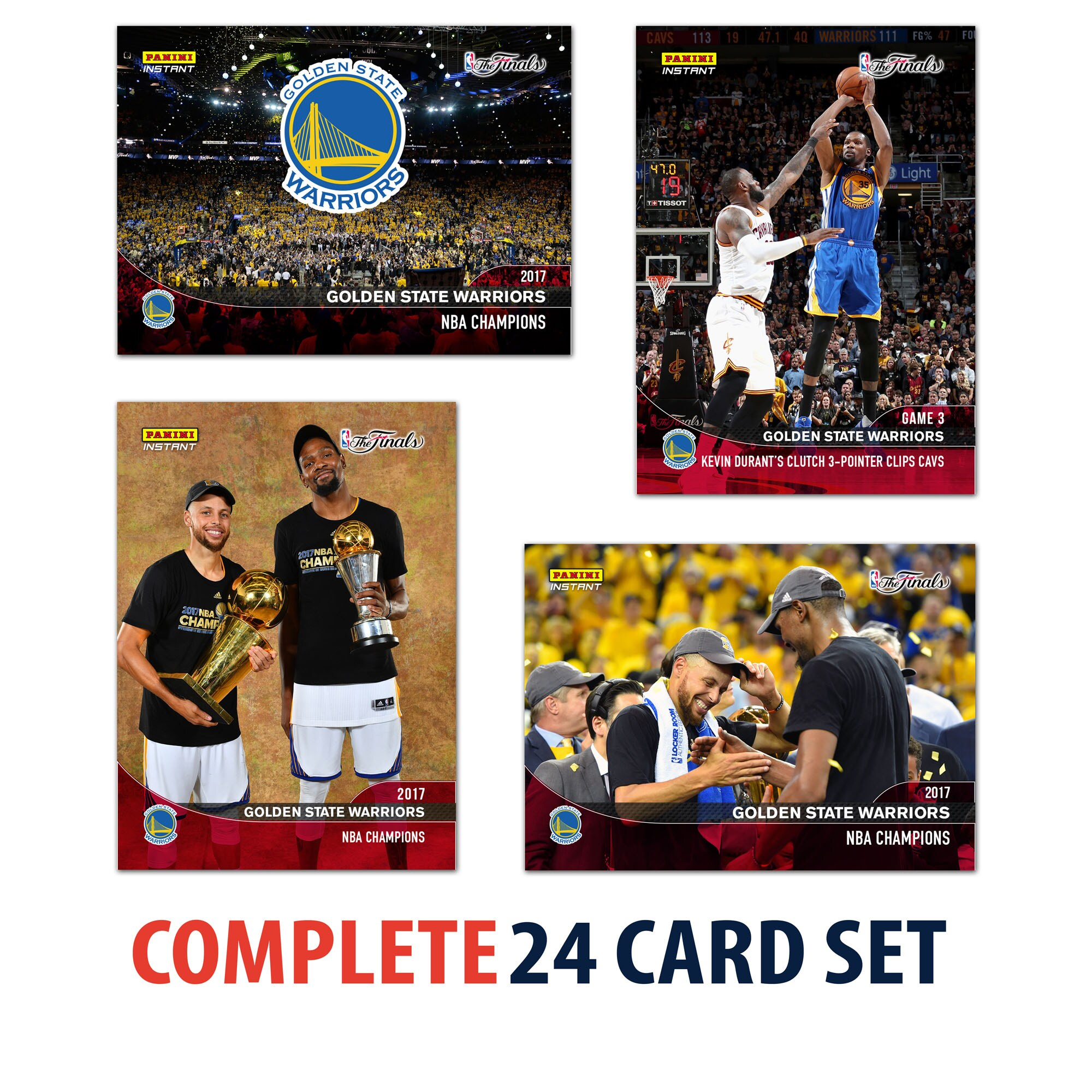 2017 Panini Instant Golden State Warriors NBA Champions Complete Trading Card Set (24 Cards)