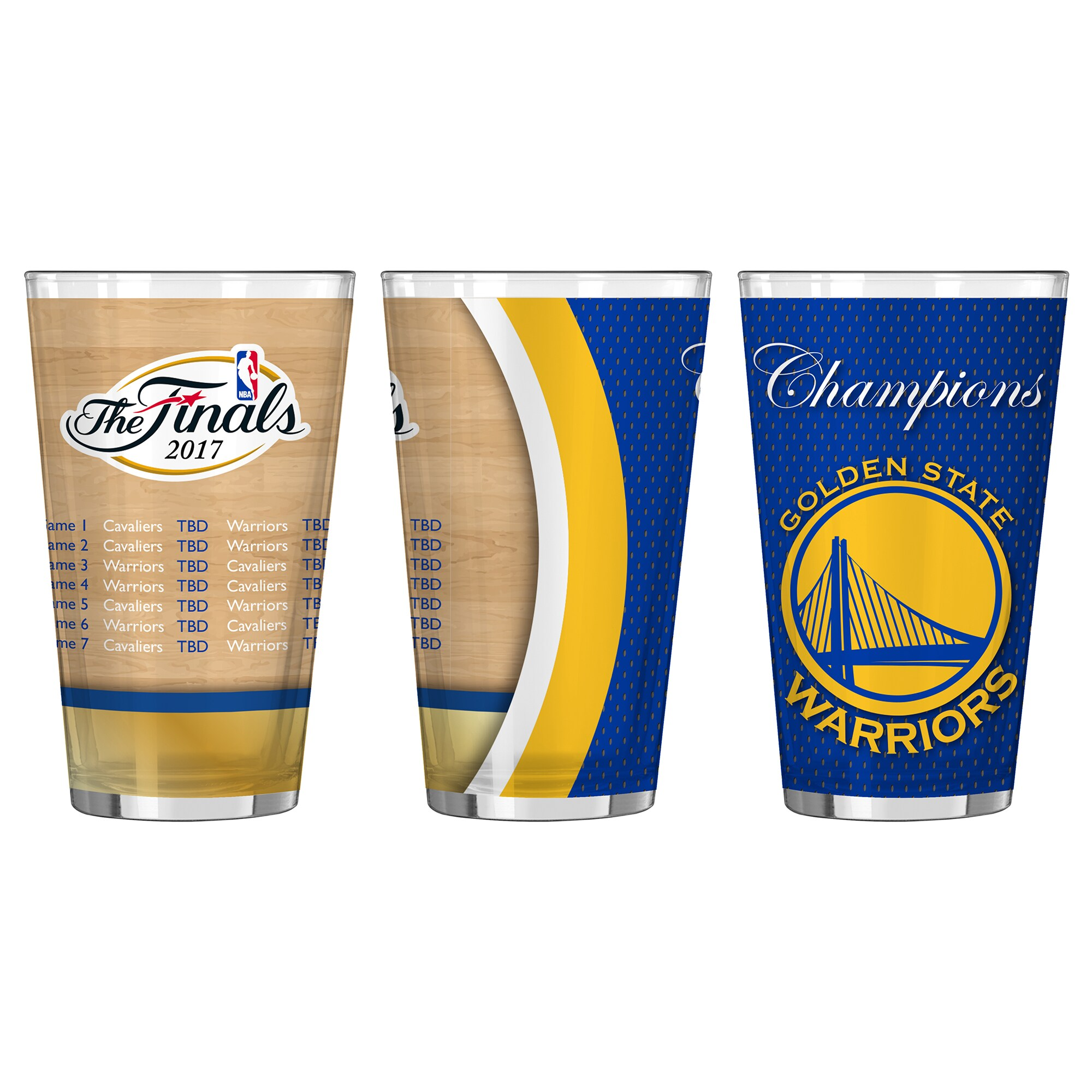 Golden State Warriors 2017 NBA Finals Champions Sublimated Summary Pint Glass