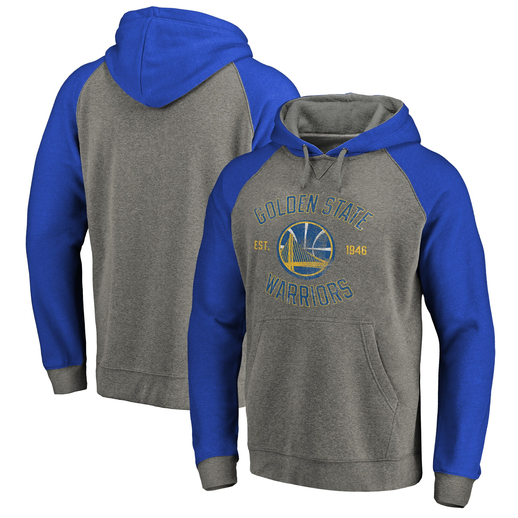 Golden State Warriors Fanatics Branded Heritage Tri-Blend Raglan Pullover Hoodie - Heathered Gray