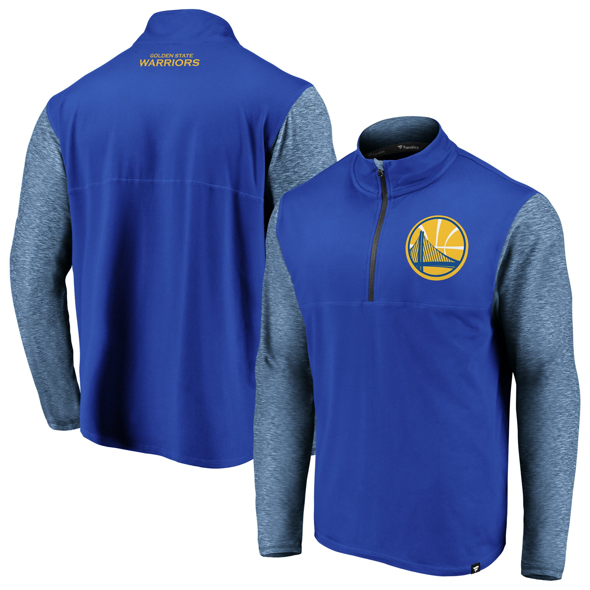 Golden State Warriors Fanatics Branded Made to Move Static Performance Quarter-Zip Pullover Jacket - Royal/Heathered Royal