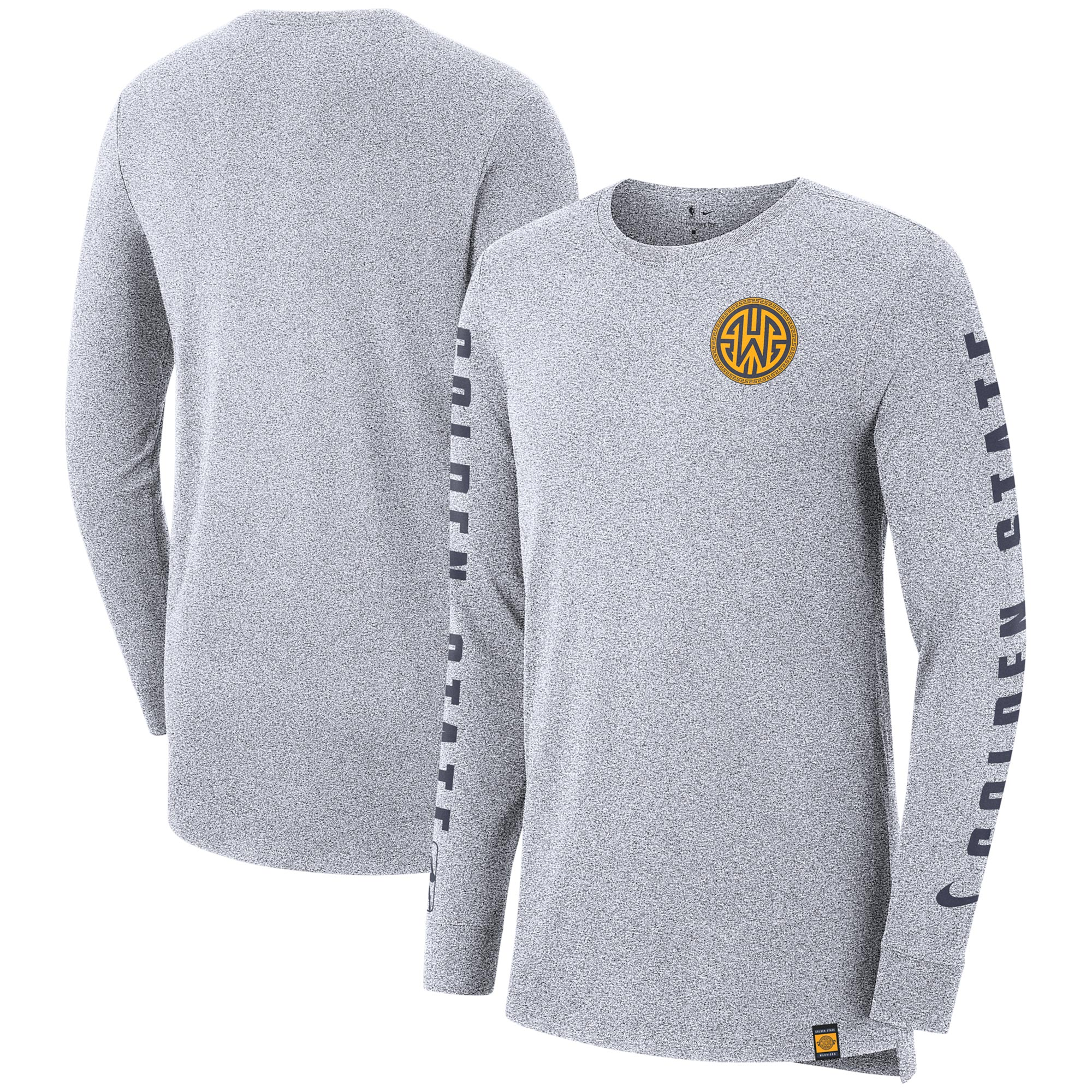 Golden State Warriors Nike City Edition Elevated Marled Long Sleeve T-Shirt - Gray