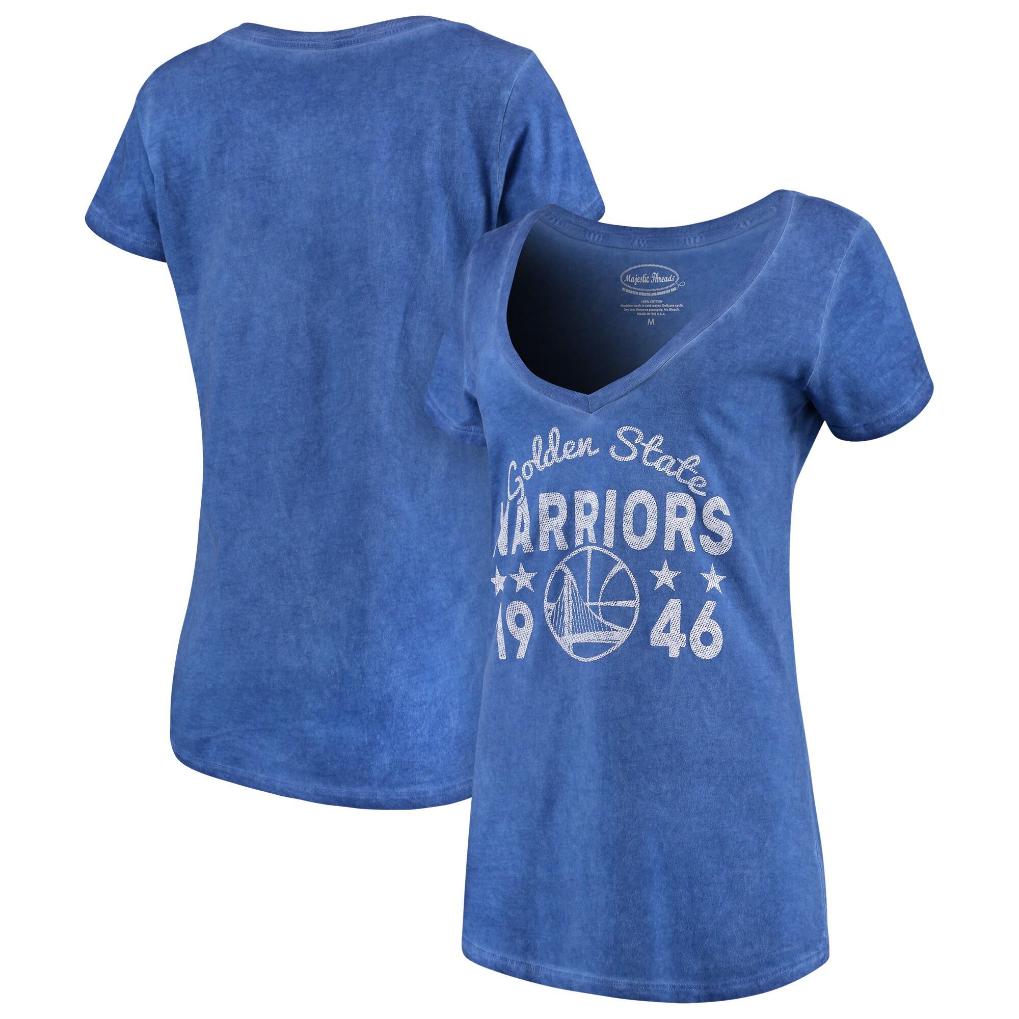 Golden State Warriors Majestic Threads Women's City Over Pop Premium V-Neck T-Shirt - Royal