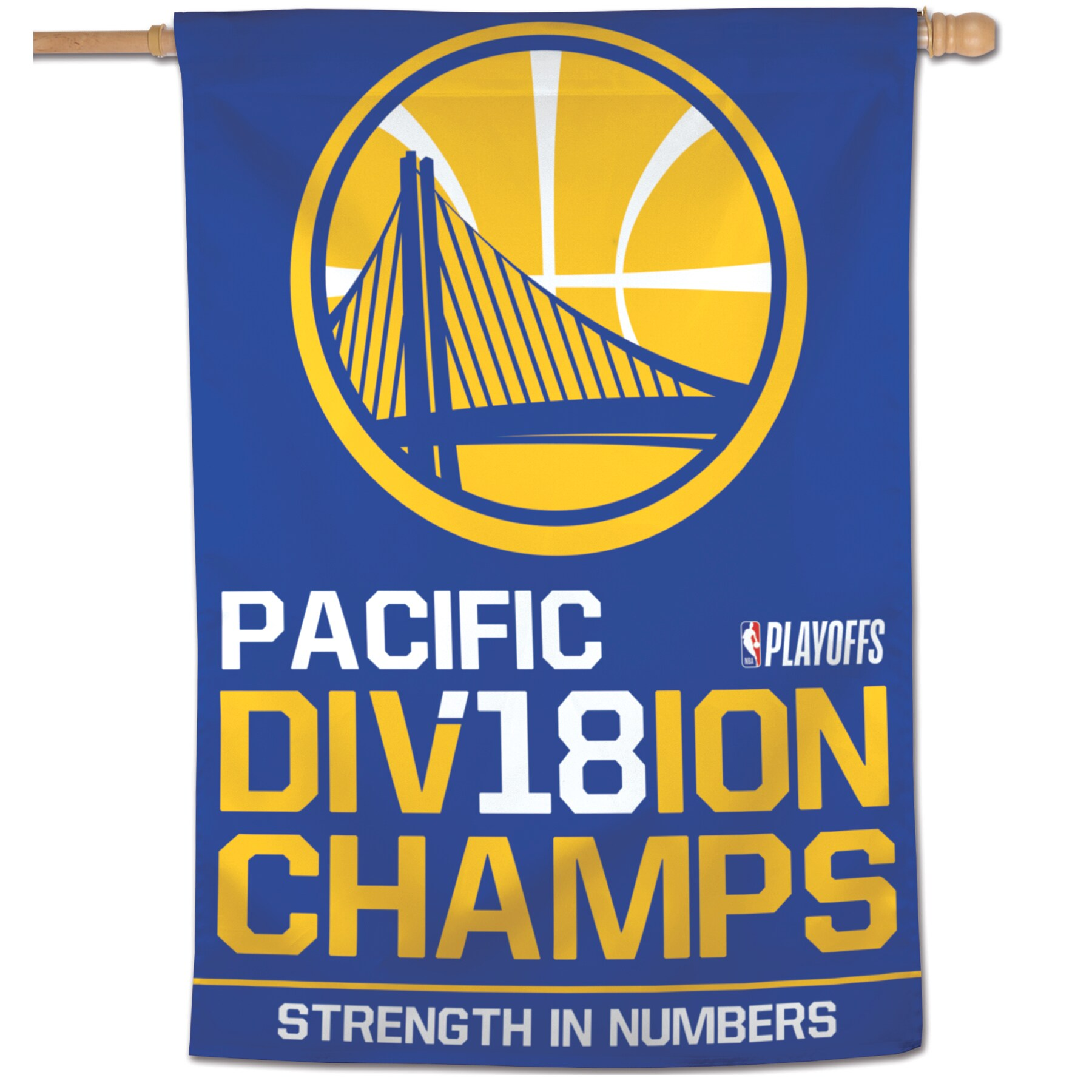 """Golden State Warriors WinCraft 2018 NBA Pacific Division Champions 28"""" x 40"""" Vertical Banner"""