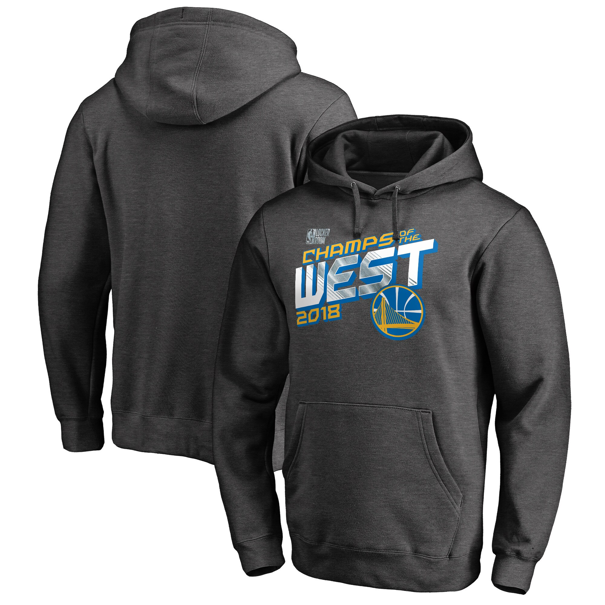 Golden State Warriors Fanatics Branded 2018 Western Conference Champions Locker Room Pullover Hoodie - Heather Charcoal