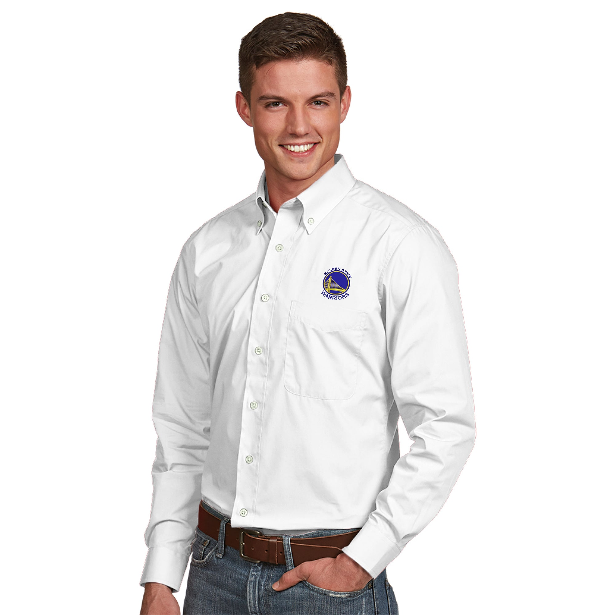 Golden State Warriors Antigua Dynasty Woven Button-Down Shirt - White