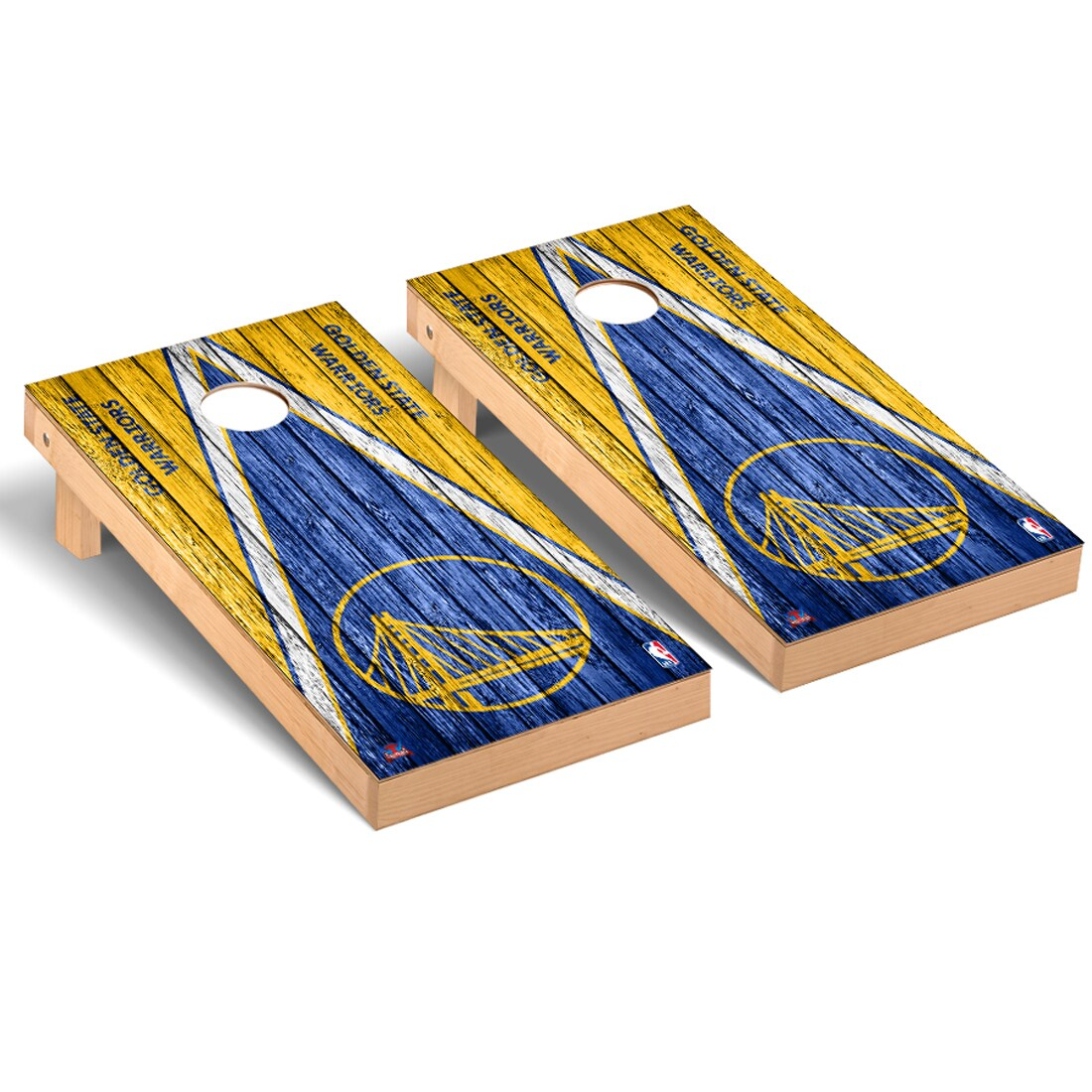Golden State Warriors 2' x 4' Weathered Museum Cornhole Board Tailgate Toss Set