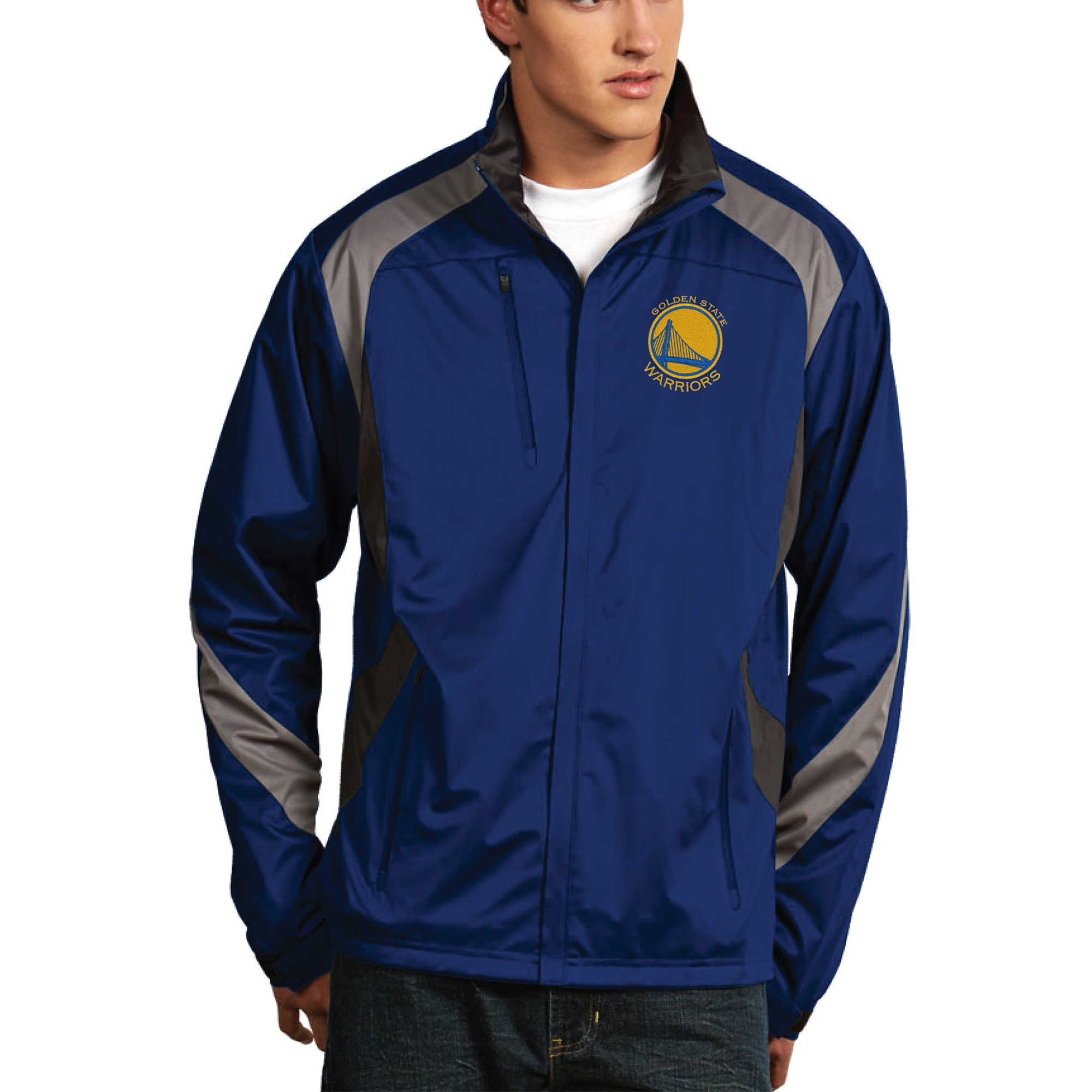 Golden State Warriors Antigua Tempest Desert Dry Full Zip Jacket - Royal